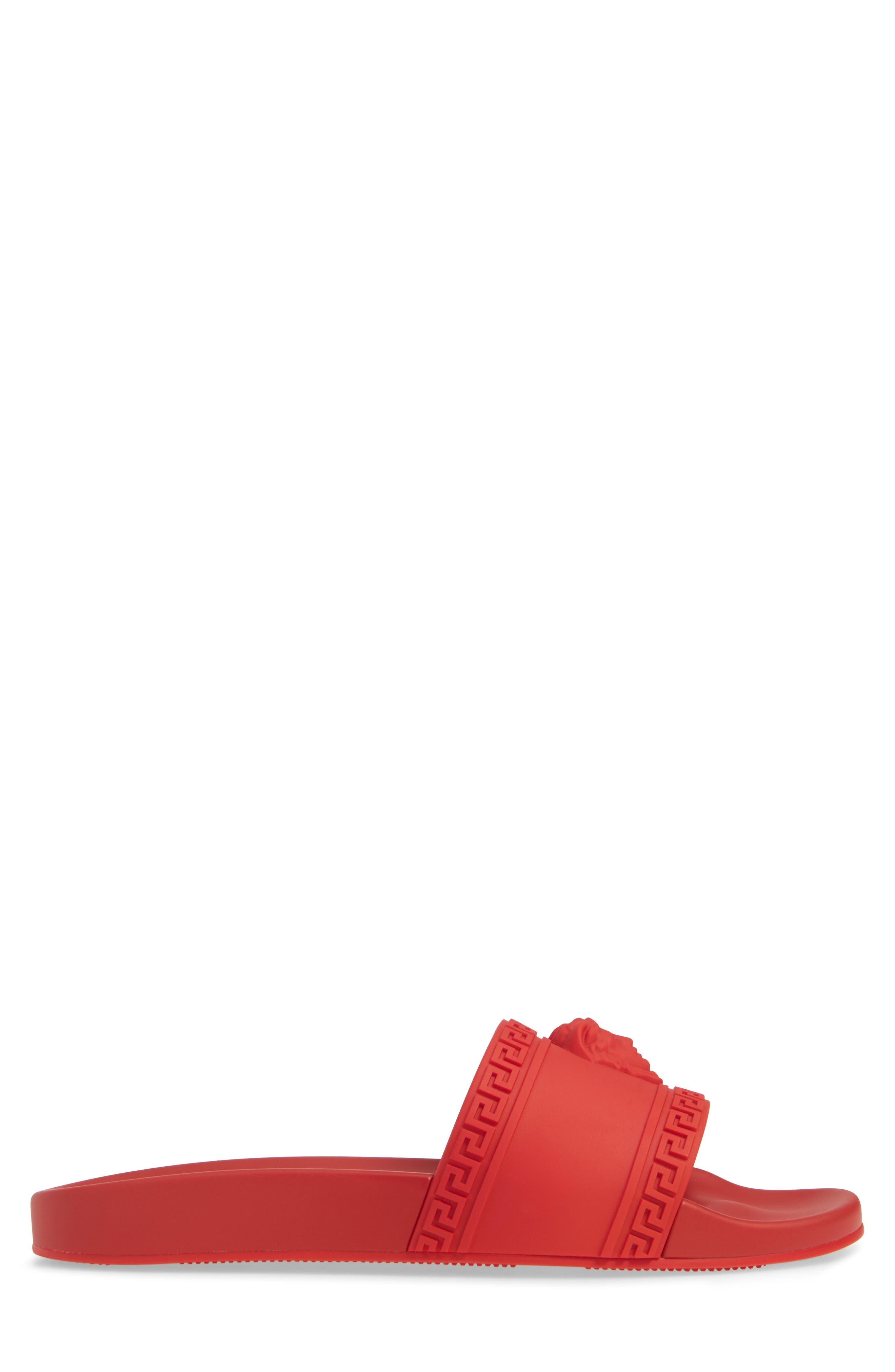 VERSACE, Palazzo Medusa Slide Sandal, Alternate thumbnail 3, color, RED