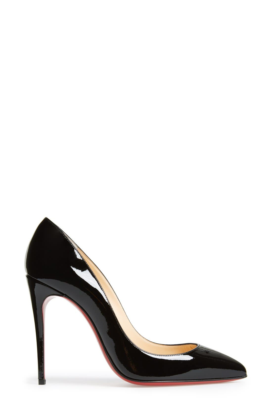 CHRISTIAN LOUBOUTIN, Pigalle Follies Pointy Toe Pump, Alternate thumbnail 4, color, BLACK PATENT