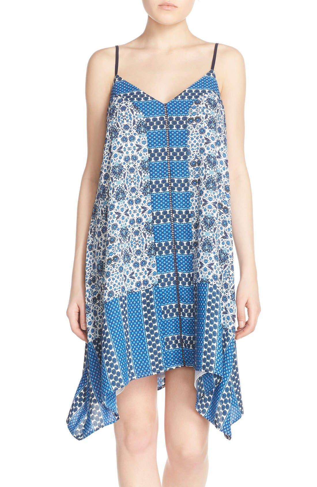 ADELYN RAE, Scarf Print Crepe Trapeze Dress, Main thumbnail 1, color, 400
