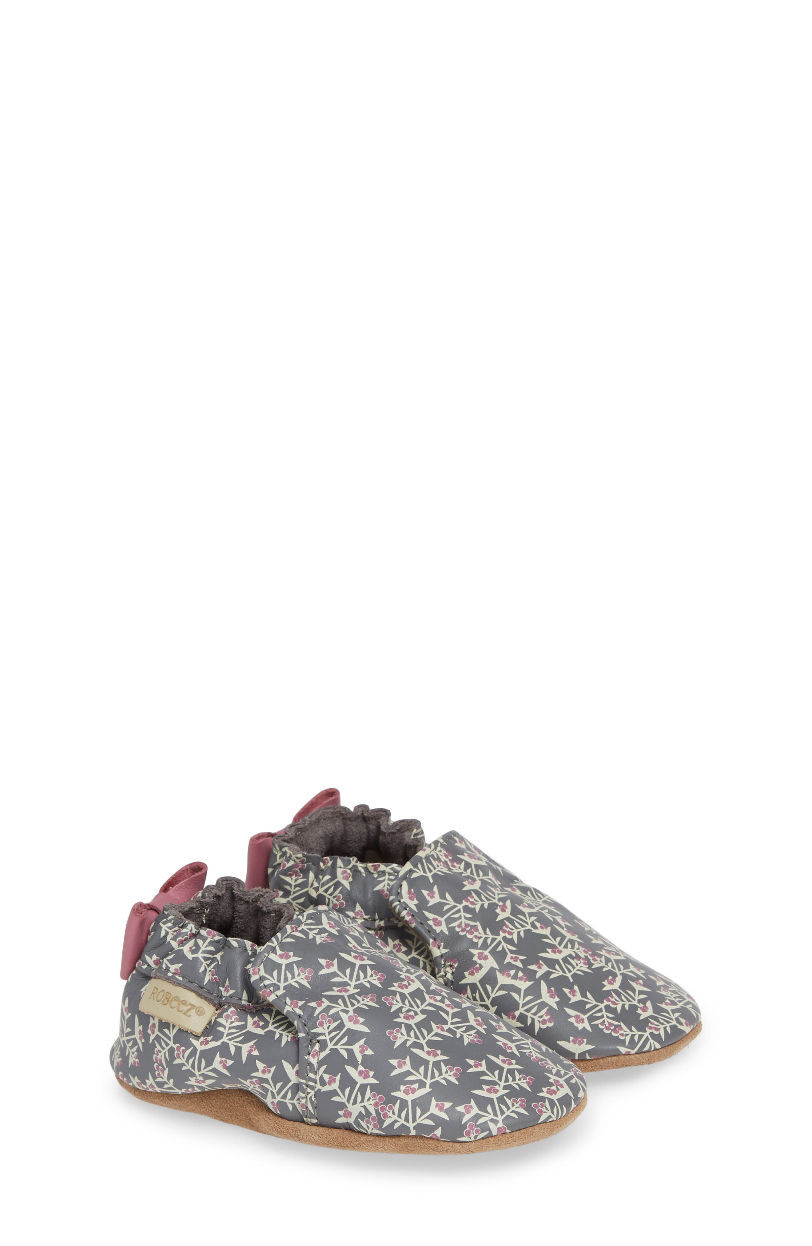 ROBEEZ<SUP>®</SUP>, Berry Beautiful Moccasin Crib Shoe, Alternate thumbnail 2, color, PATTERN
