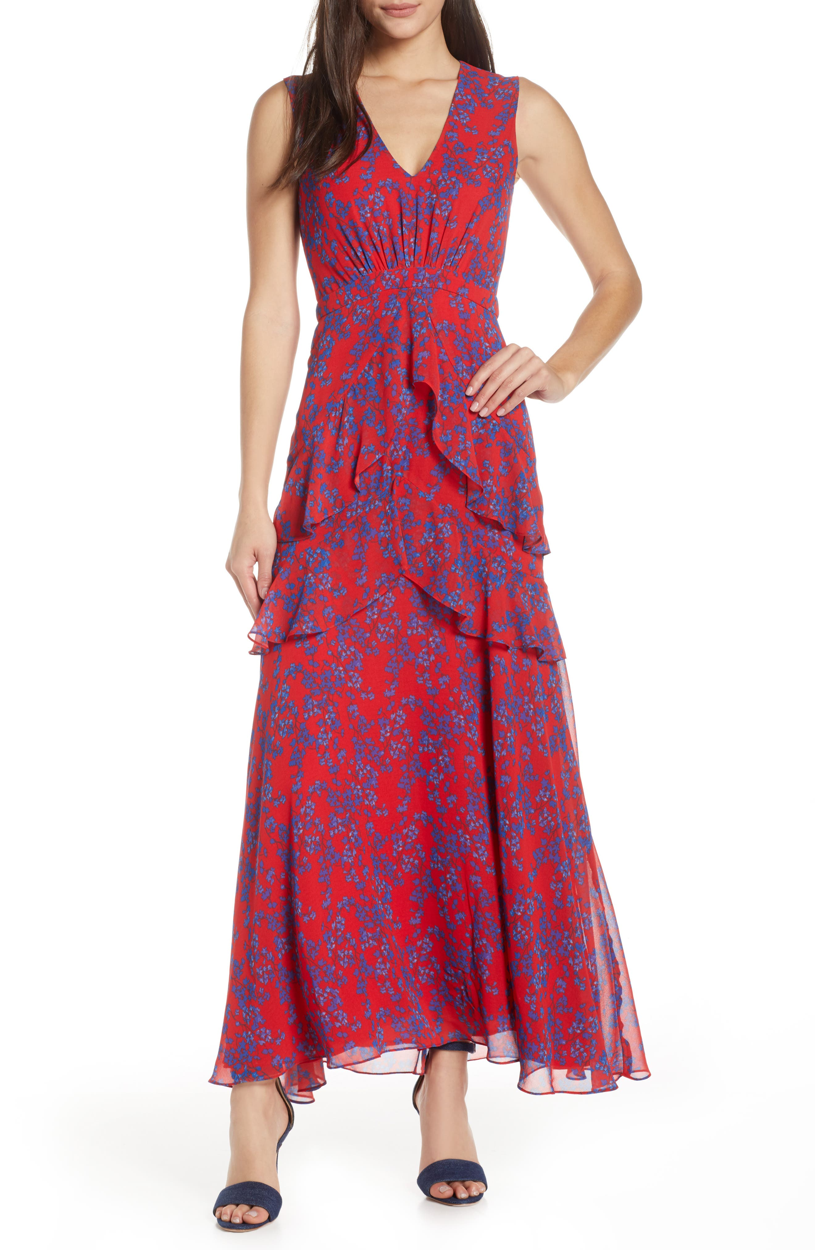 Petite Charles Henry Floral Tiered A-Line Maxi Dress, Red