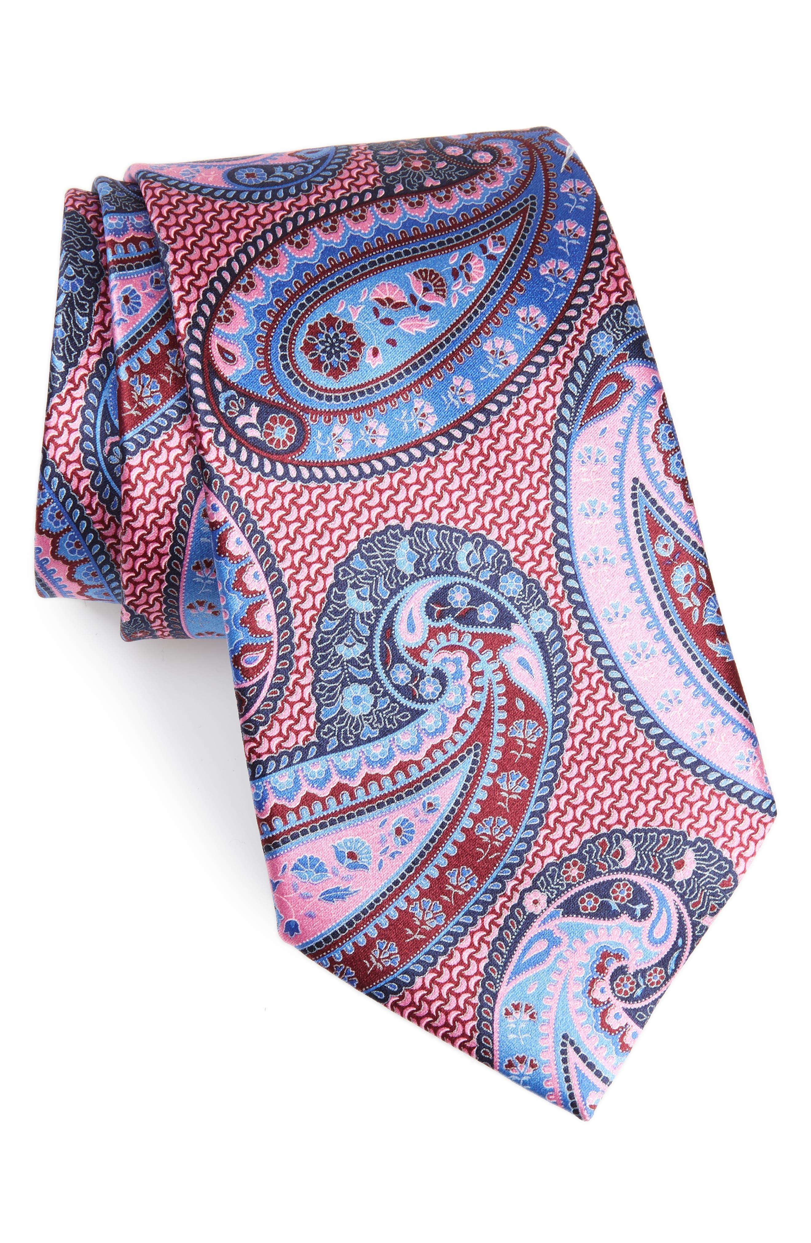 ERMENEGILDO ZEGNA Paisley Silk Tie, Main, color, PINK