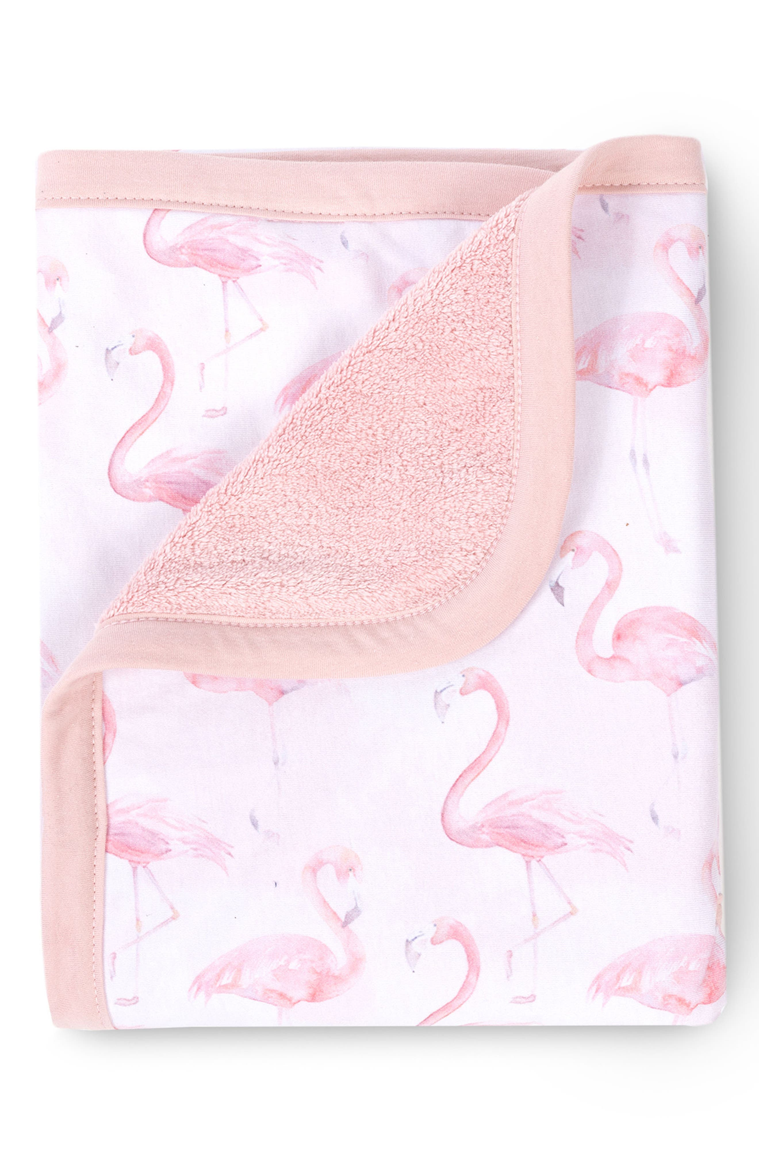 OILO, Flamingo Cuddle Blanket, Alternate thumbnail 3, color, BLUSH