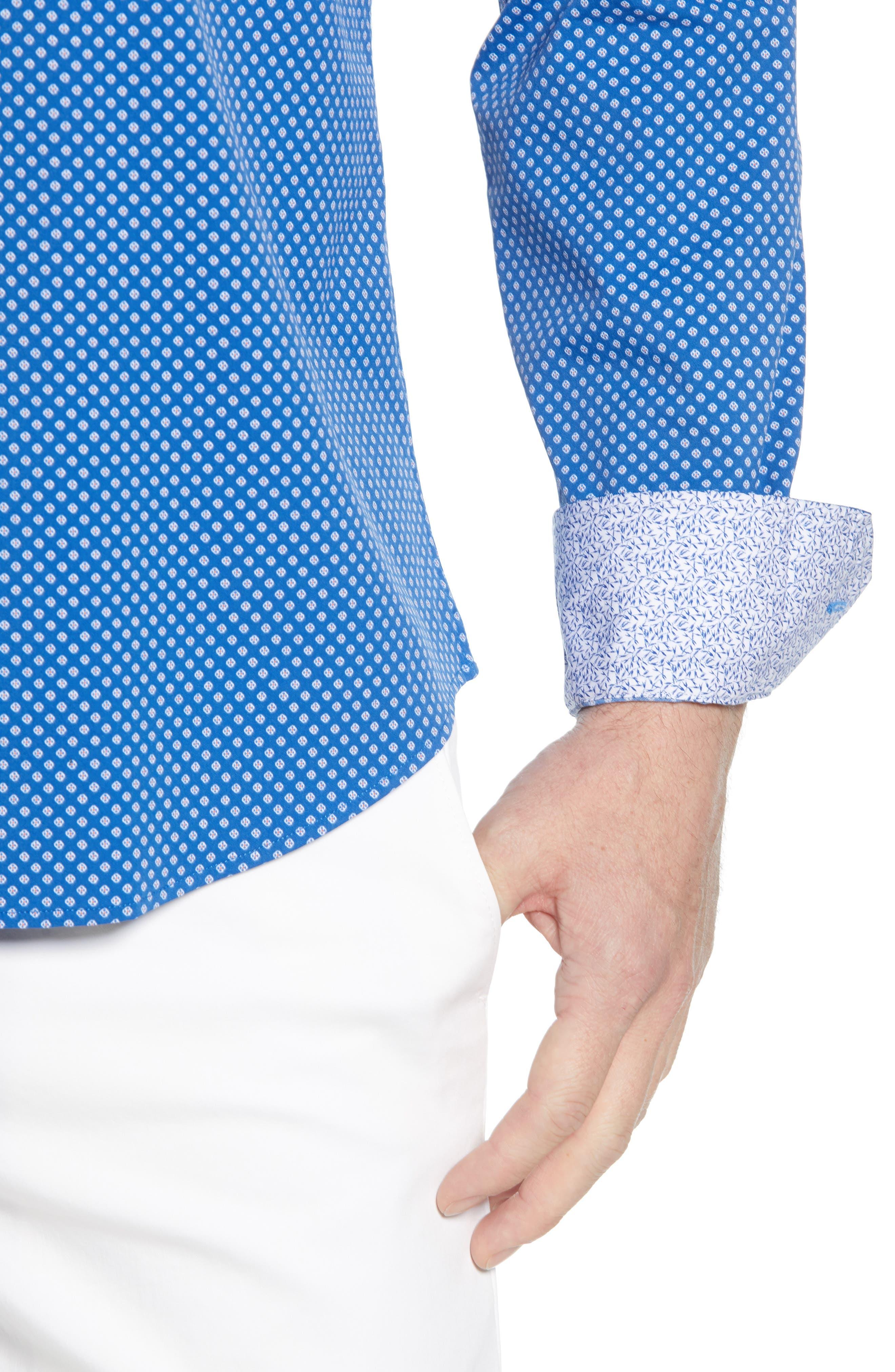 BUGATCHI, Shaped Fit Print Performance Sport Shirt, Alternate thumbnail 2, color, NAVY