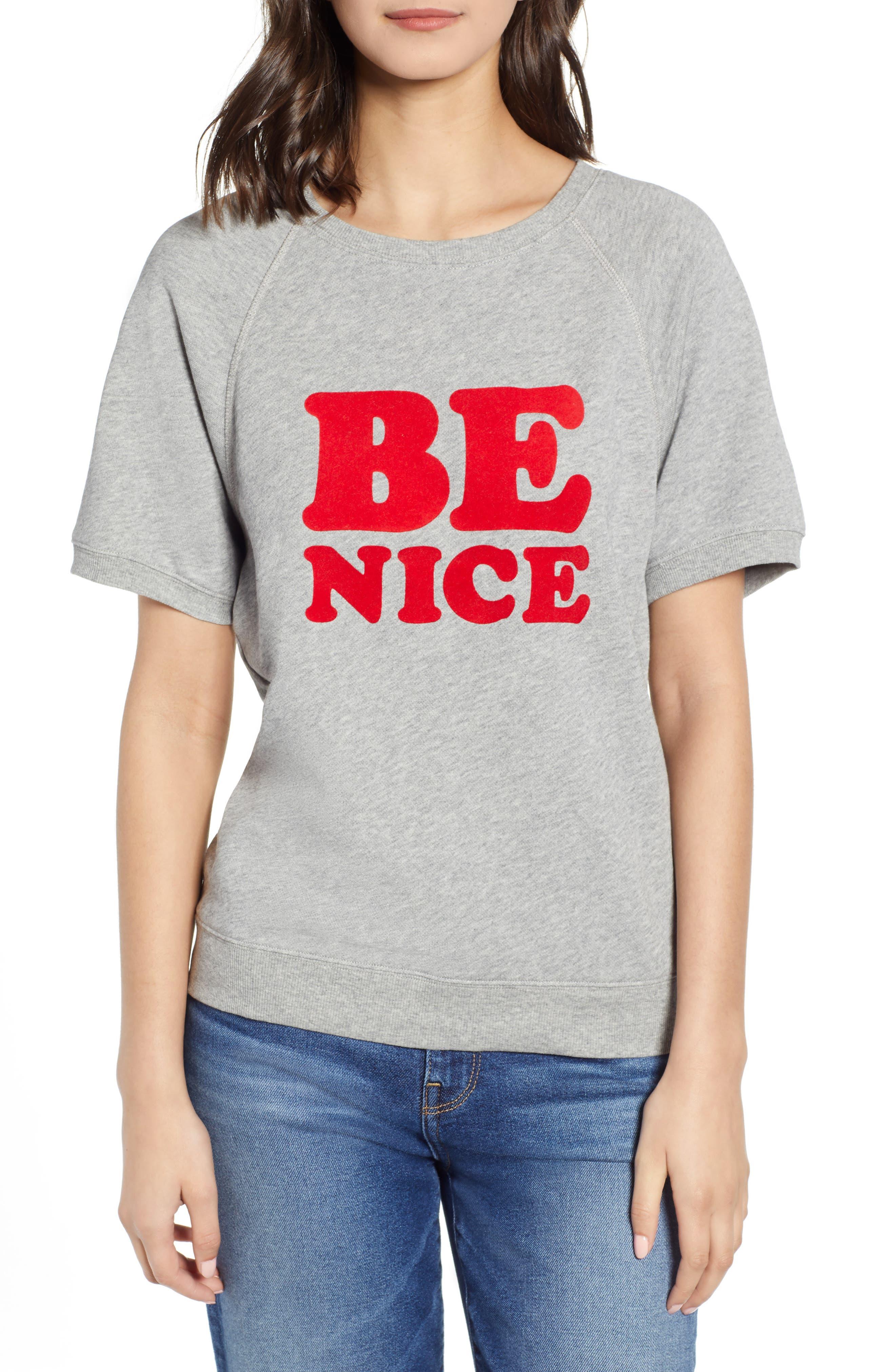 BAN.DO Be Nice Flocked Short Sleeve Cotton Sweatshirt, Main, color, GREY