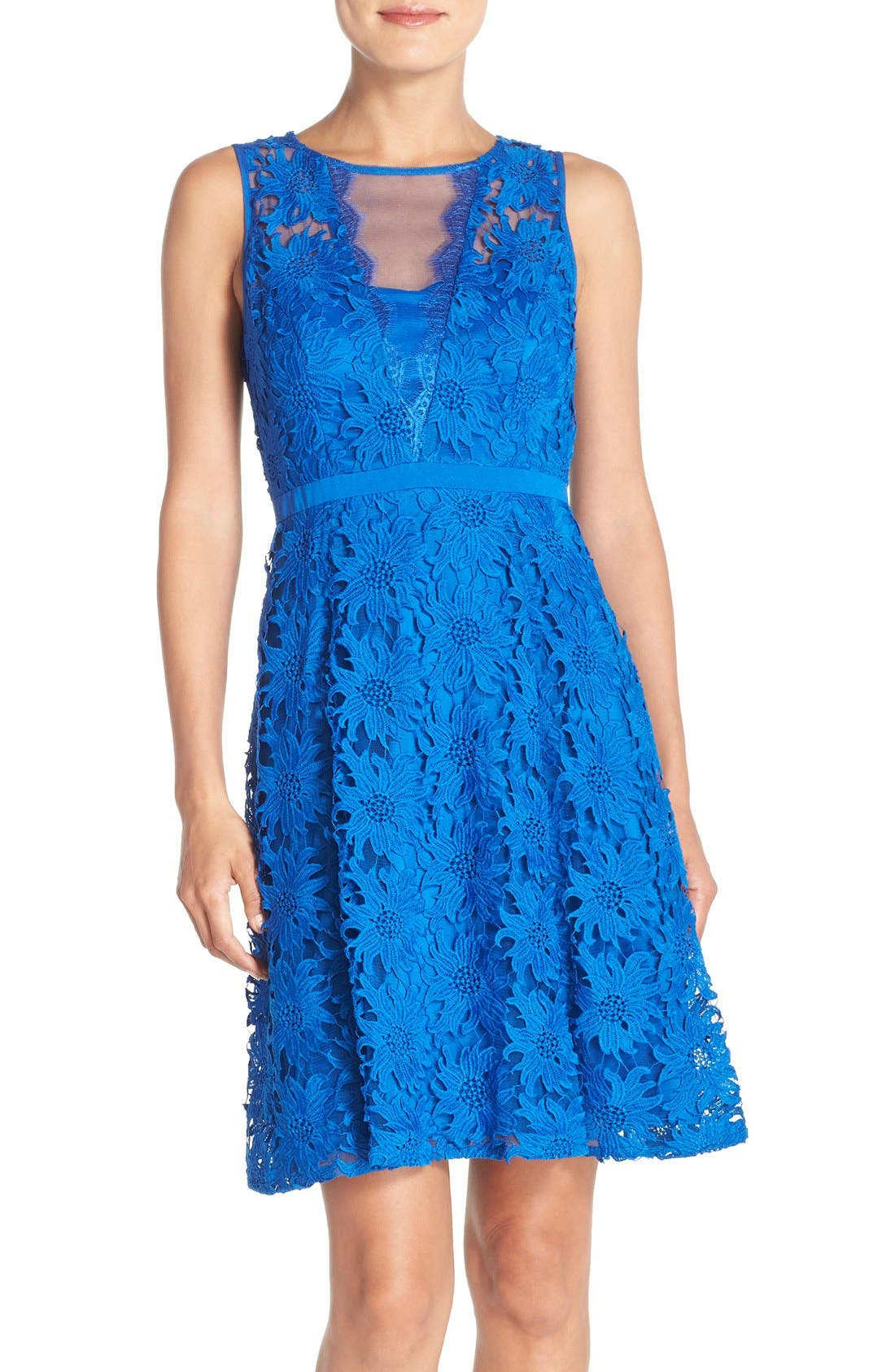 ADRIANNA PAPELL, Illusion Floral Lace Fit & Flare Dress, Main thumbnail 1, color, 433