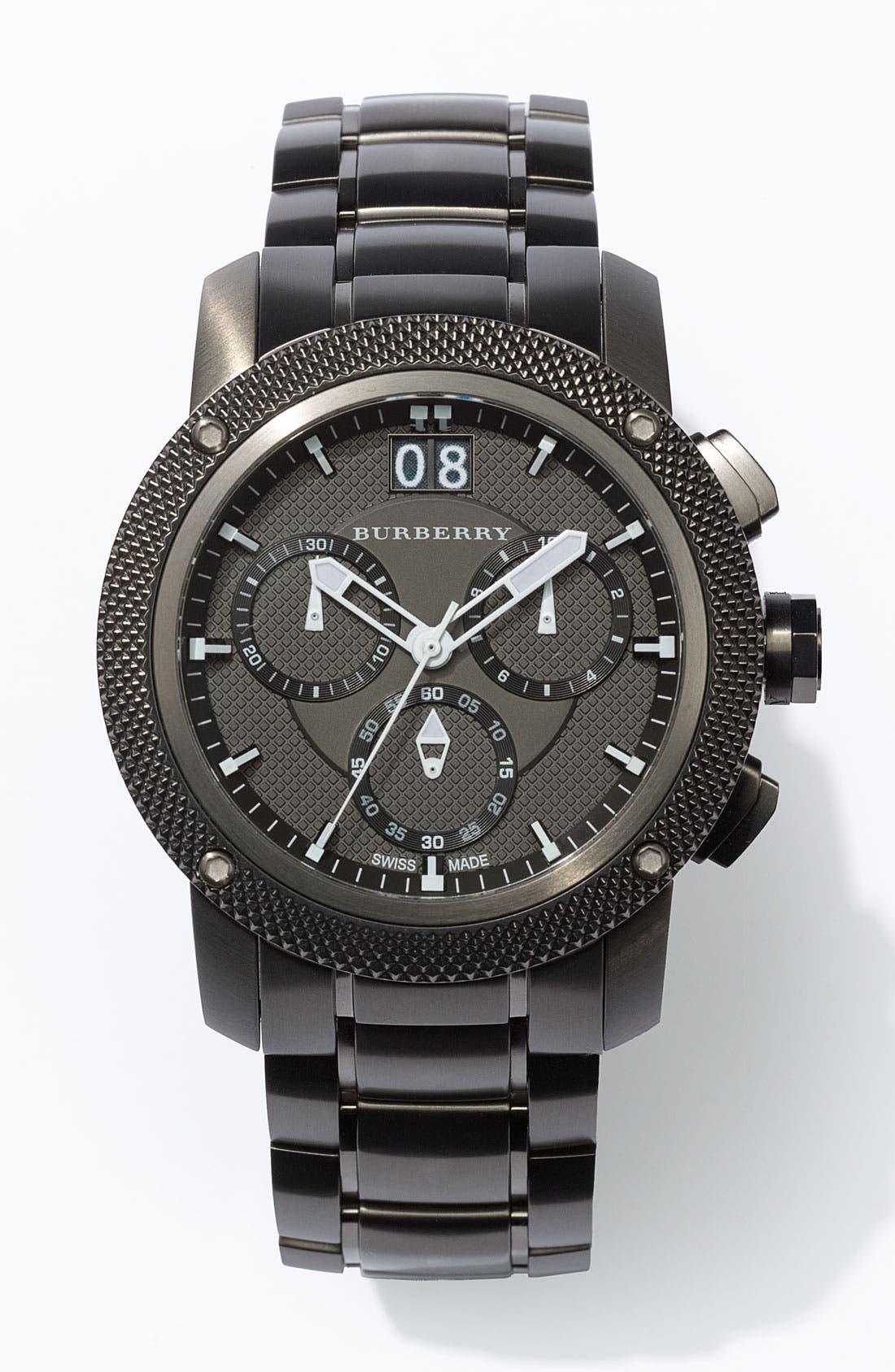 BURBERRY, Chronograph Bracelet Watch, 46mm, Main thumbnail 1, color, 020