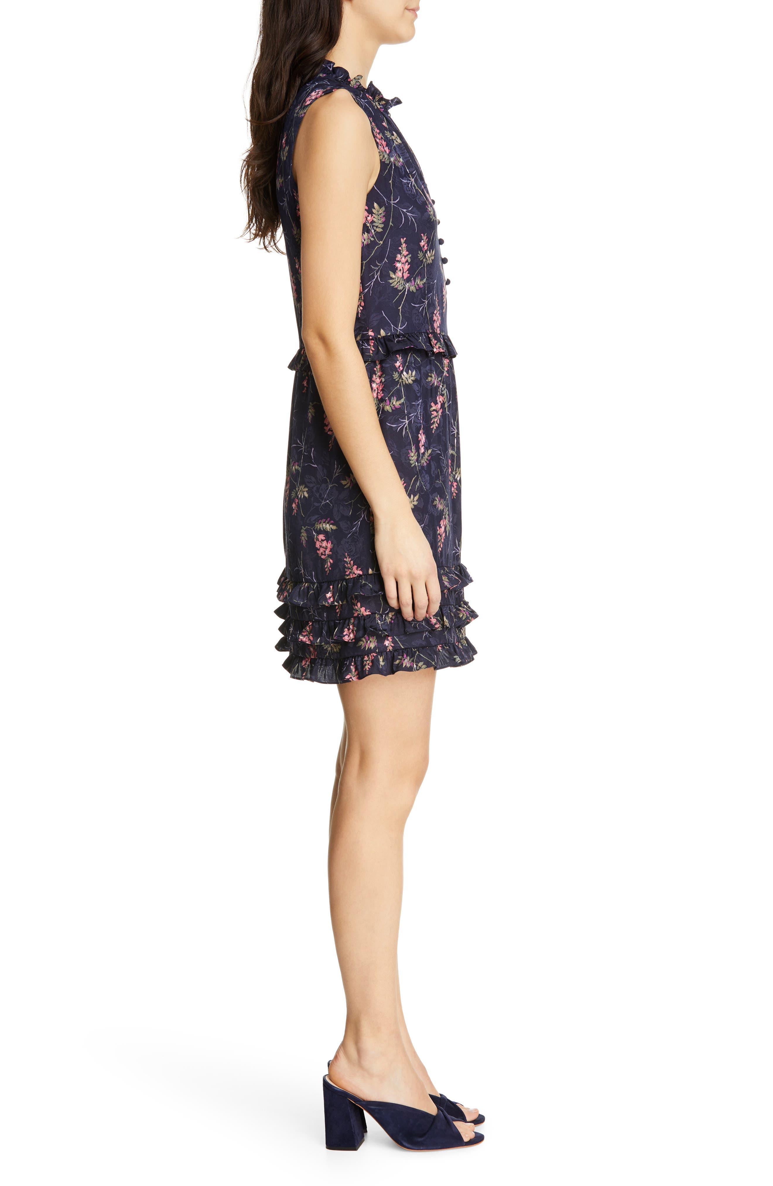 REBECCA TAYLOR, Ivie Floral Ruffle Silk Blend Dress, Alternate thumbnail 3, color, NAVY COMBO