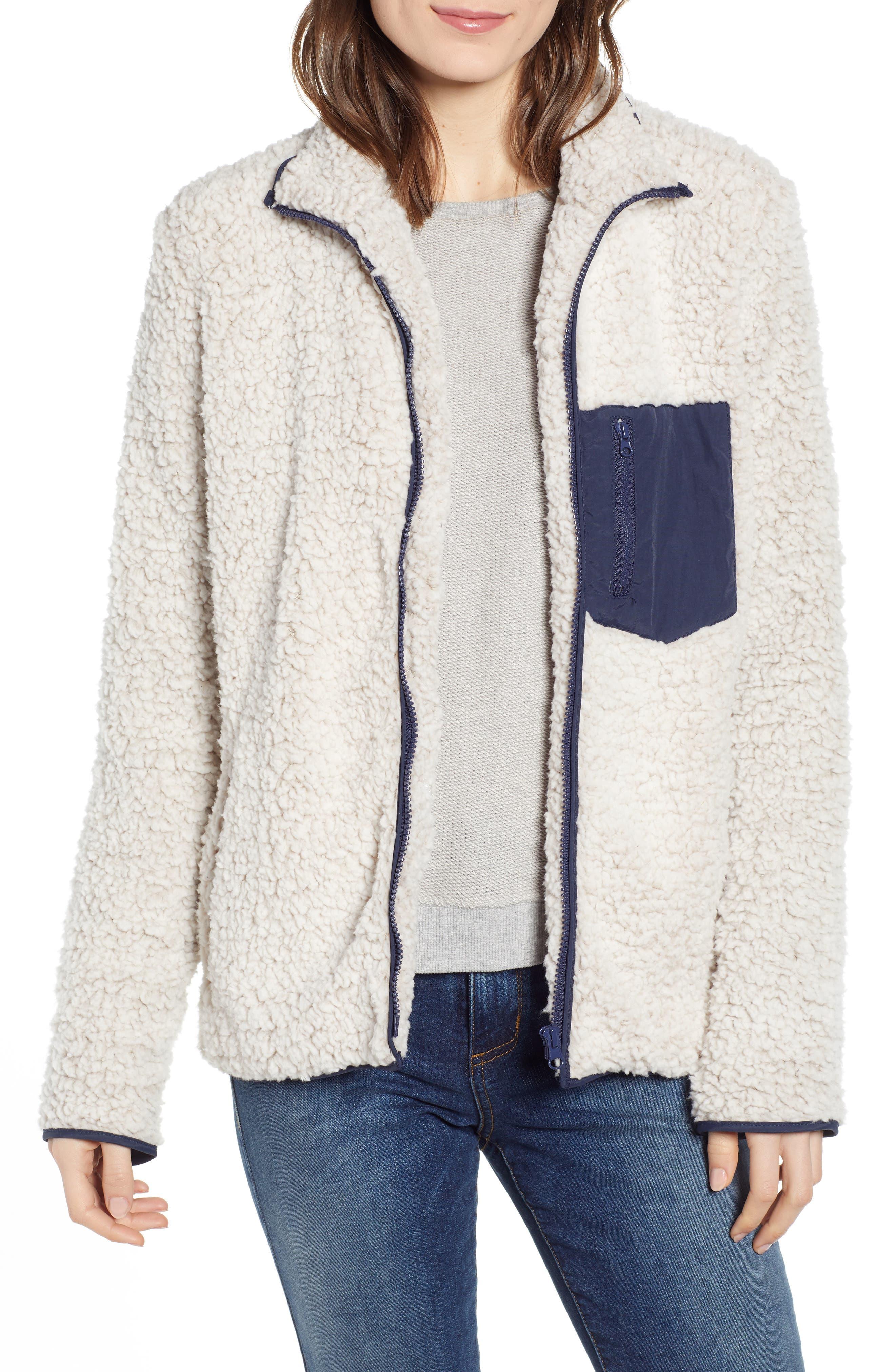 THREAD & SUPPLY Bleeker Fleece Jacket, Main, color, IVORY INDIGO