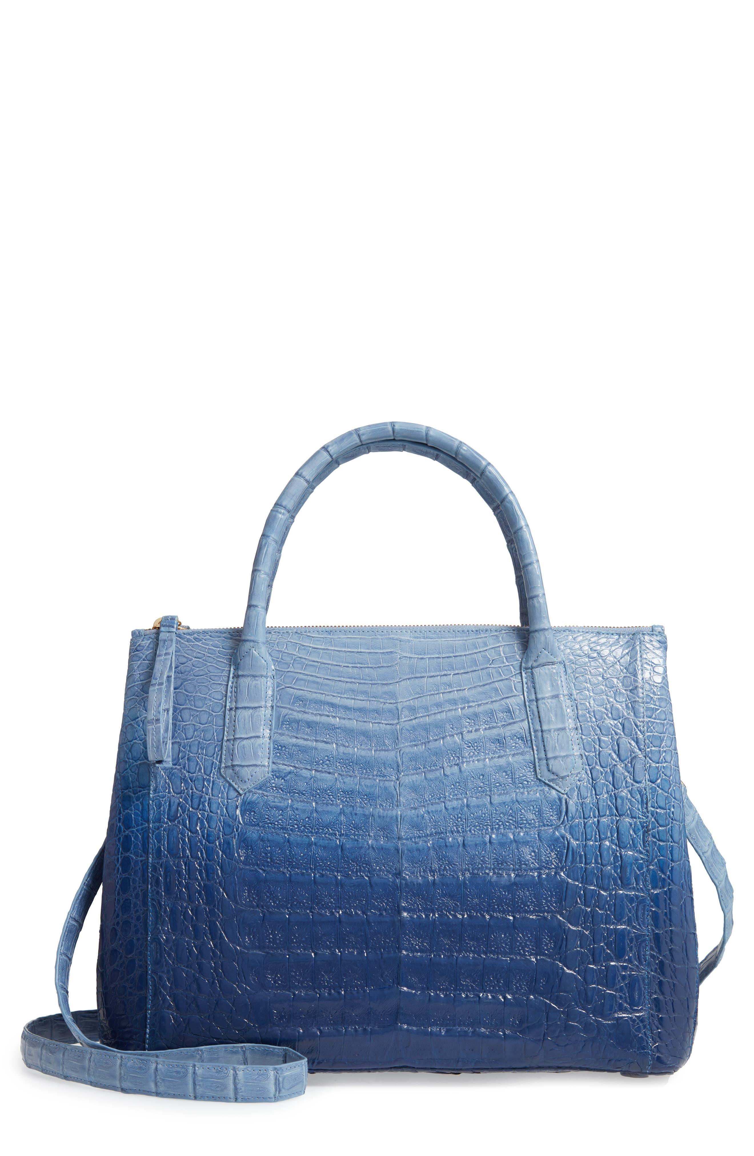 NANCY GONZALEZ, Medium Double Zip Genuine Crocodile Tote, Main thumbnail 1, color, BLUE DEGRADE