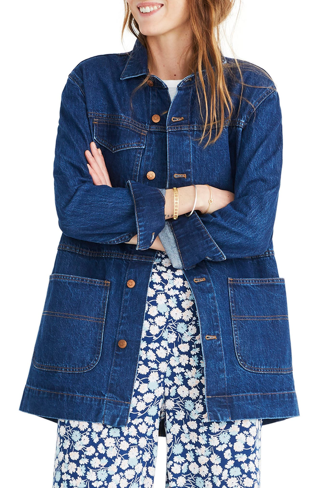 MADEWELL, Oversized Denim Chore Jacket, Main thumbnail 1, color, 400