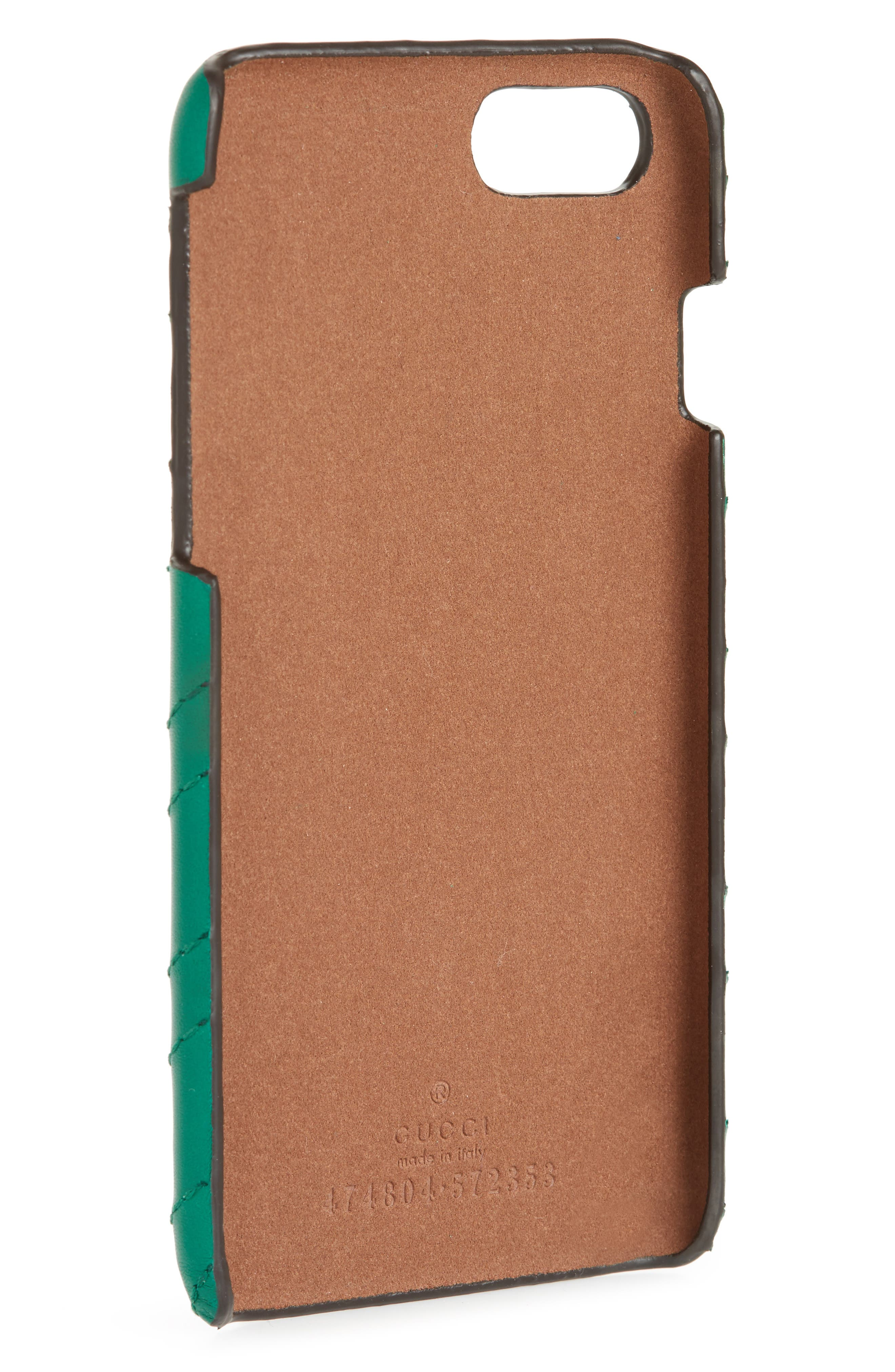 GUCCI, GG Marmont Leather iPhone 7 Case, Alternate thumbnail 2, color, EMERALD