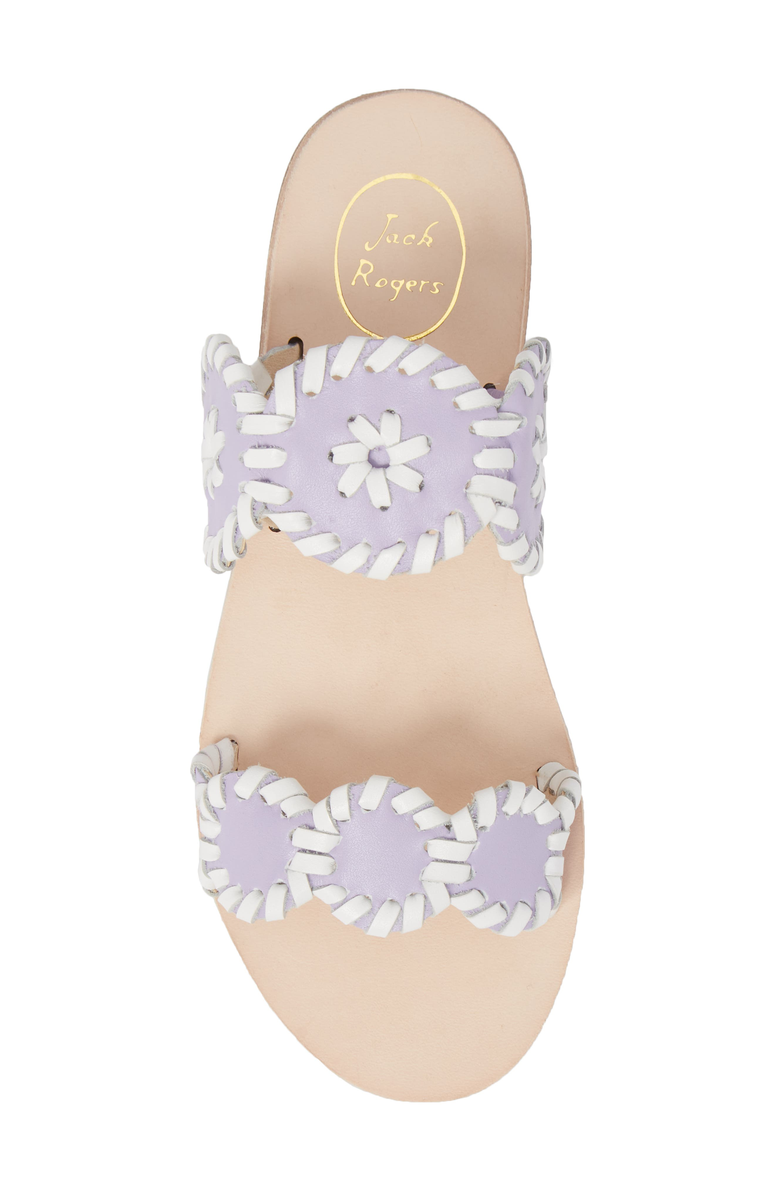 JACK ROGERS, Miss Lauren Sandal, Alternate thumbnail 5, color, LILAC/ WHITE LEATHER
