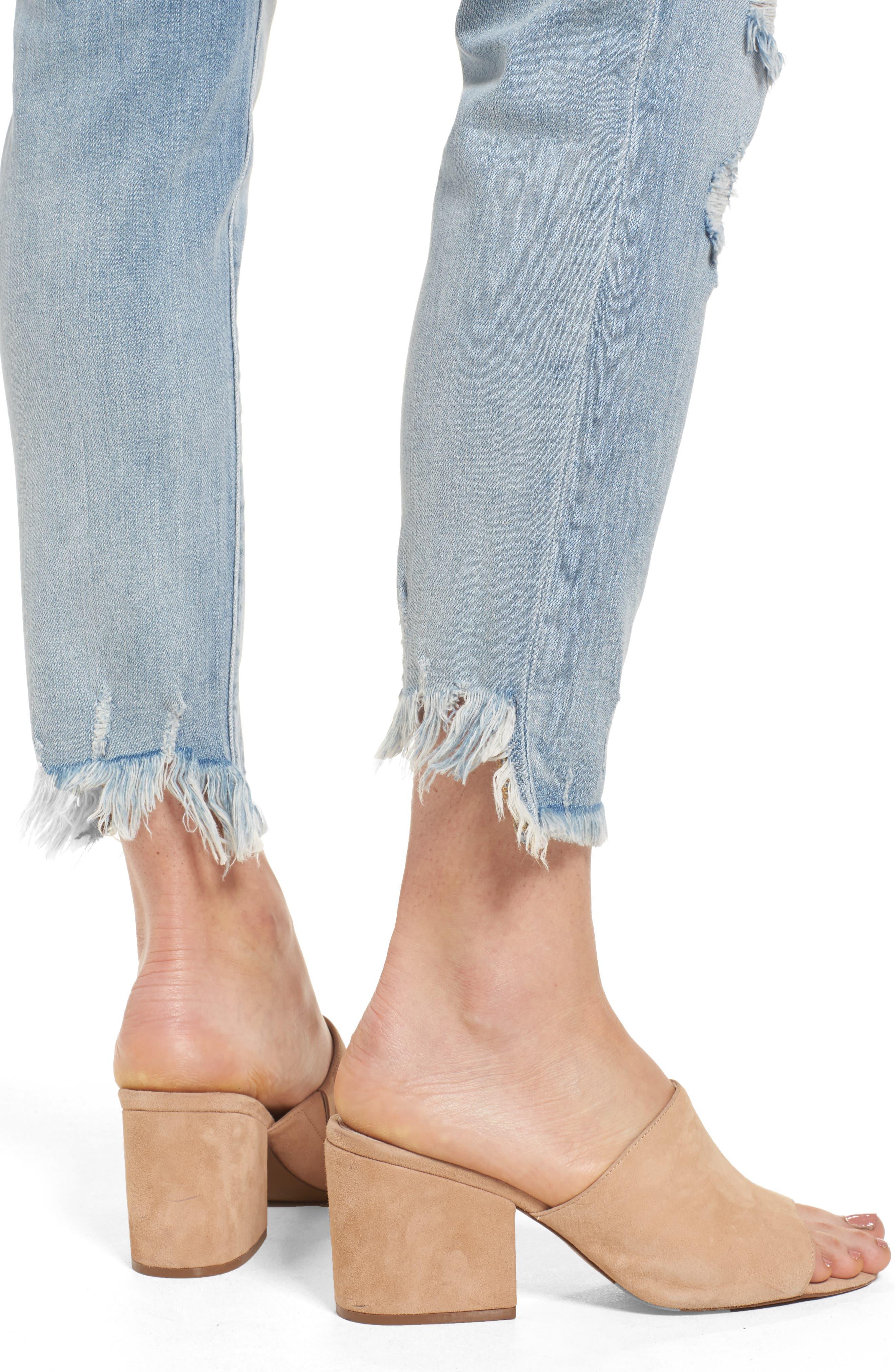 SLINK JEANS, Frayed Hem Easy Fit Ankle Jeans, Alternate thumbnail 4, color, MAGGIE