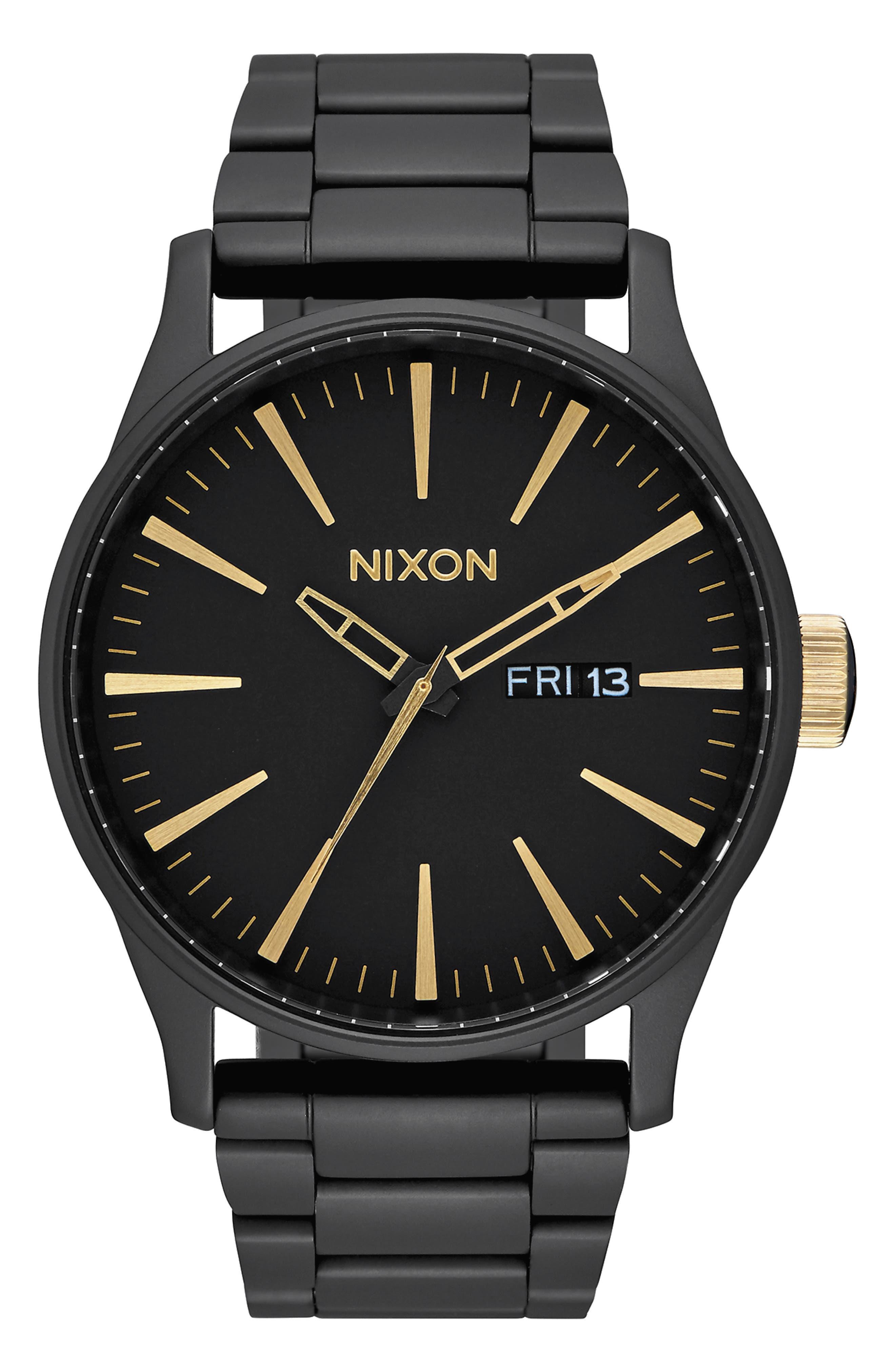 NIXON, 'The Sentry' Bracelet Watch, 42mm, Main thumbnail 1, color, 001