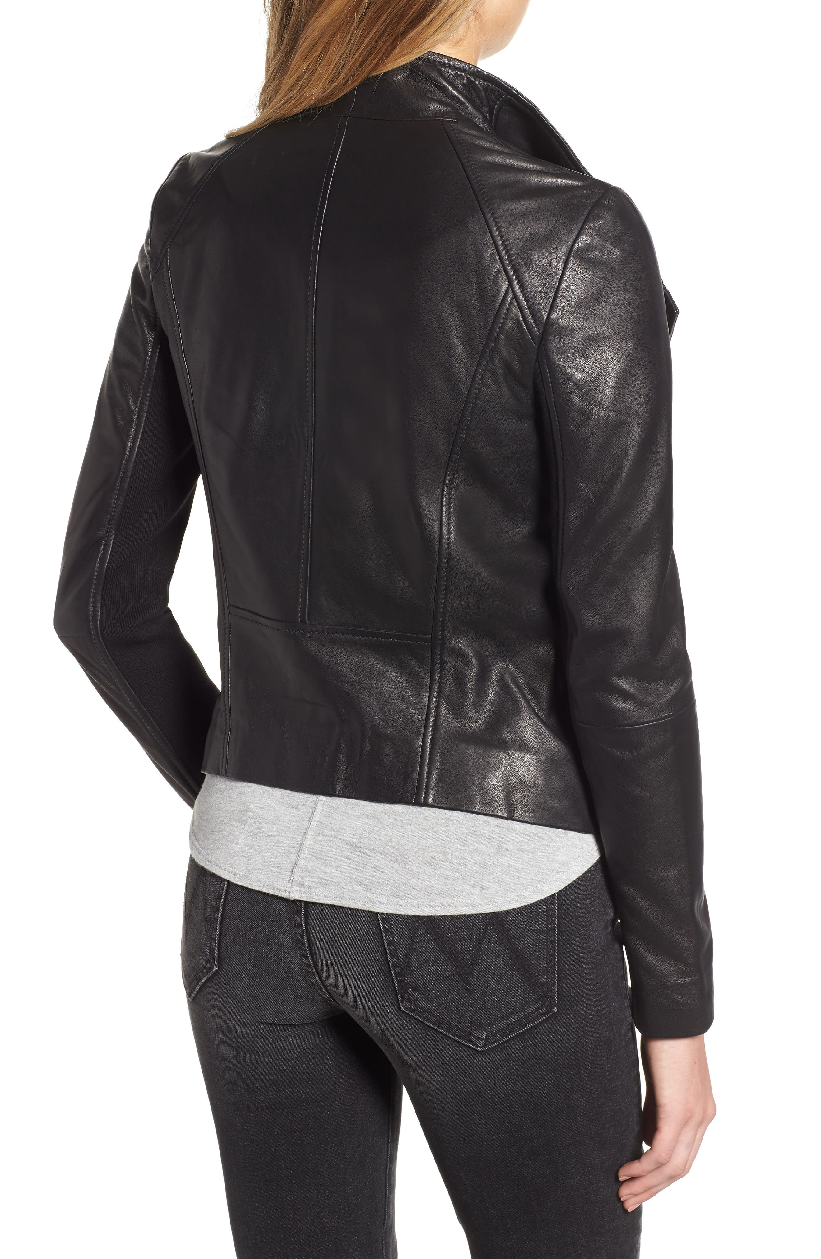 CHELSEA28, Leather Moto Jacket, Alternate thumbnail 2, color, BLACK