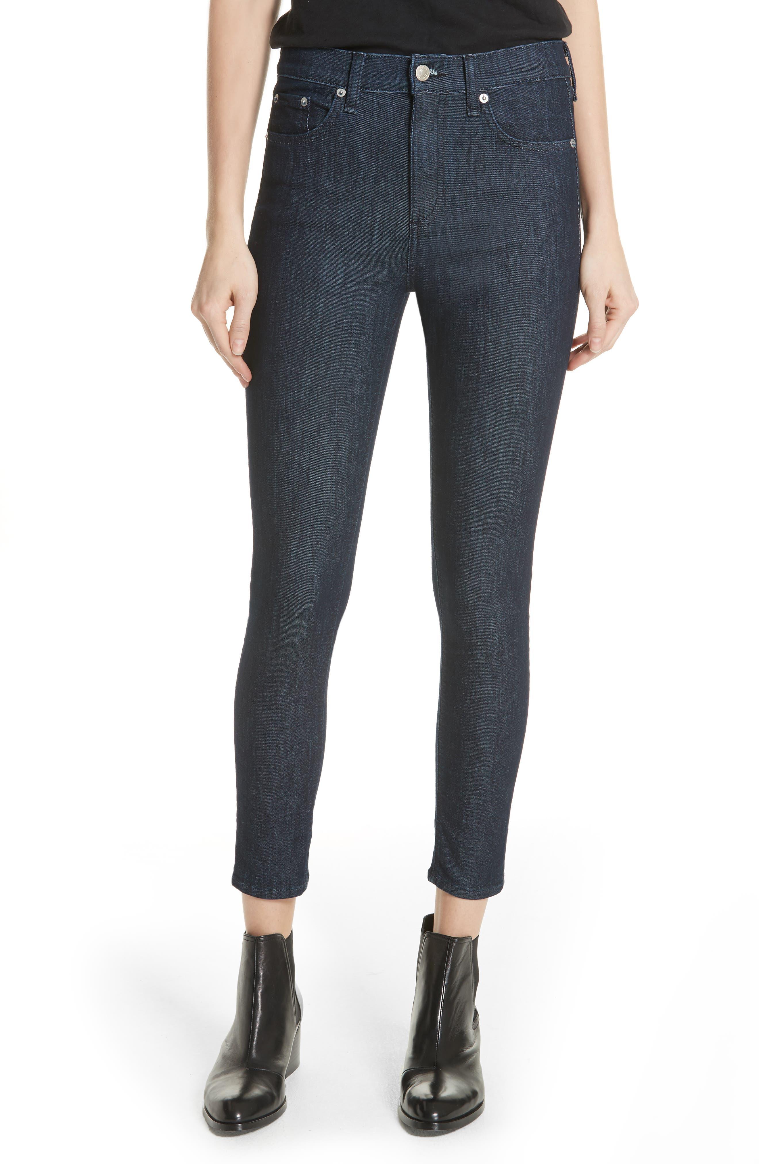 RAG & BONE, High Waist Skinny Jeans, Main thumbnail 1, color, INDIGO