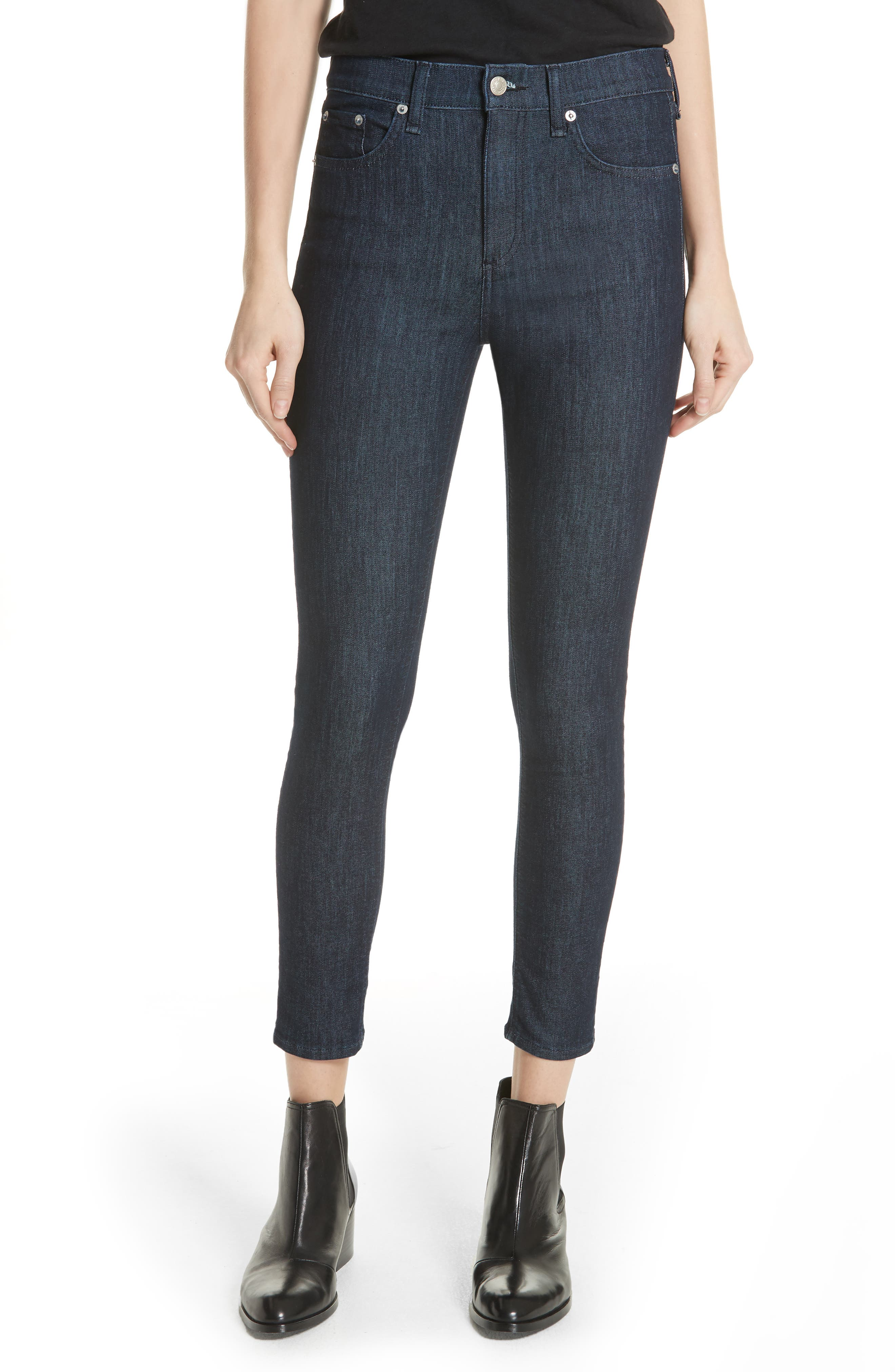 RAG & BONE High Waist Skinny Jeans, Main, color, INDIGO