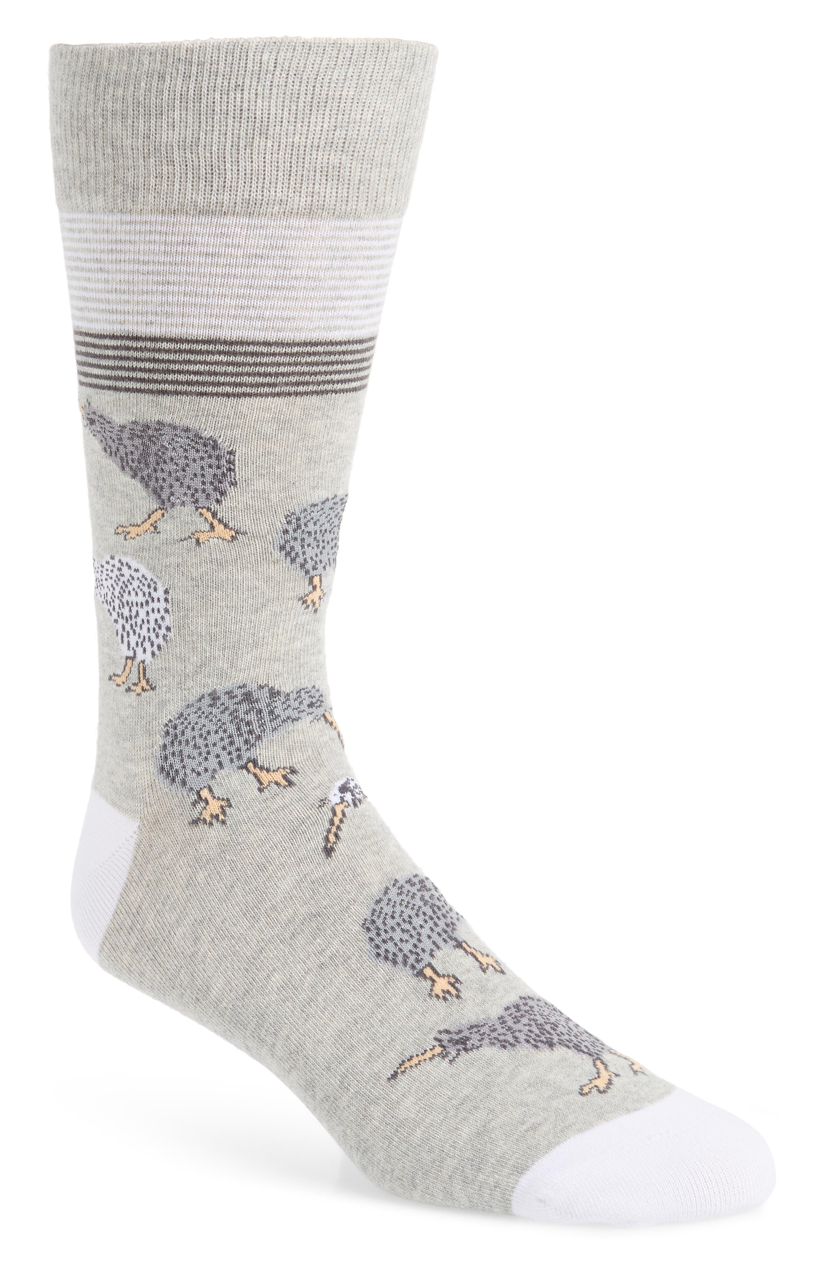 CALIBRATE Kiwi Birds Socks, Main, color, GREY/ CHARCOAL