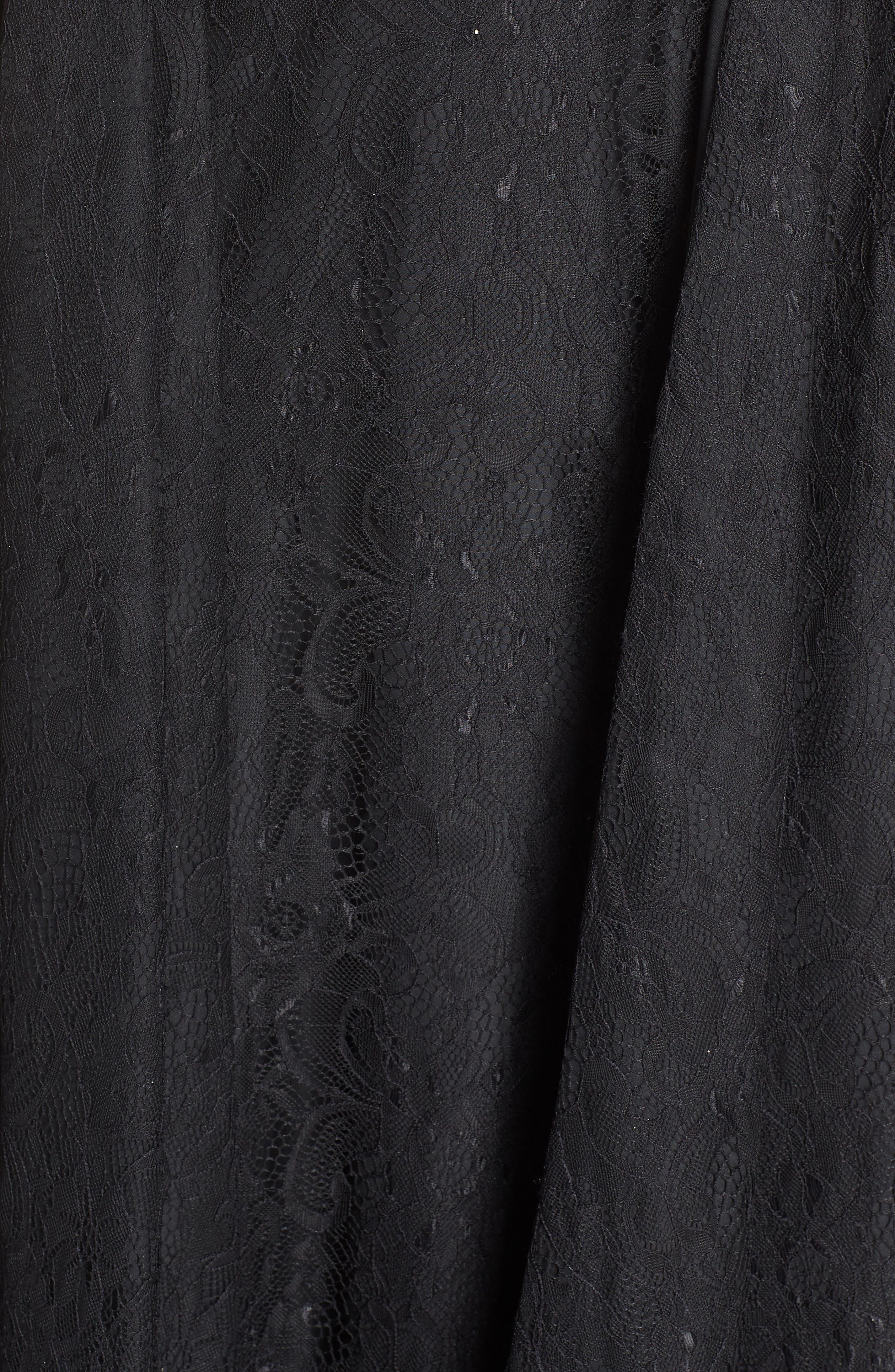 MAC DUGGAL, Off the Shoulder Lace Evening Dress, Alternate thumbnail 6, color, BLACK