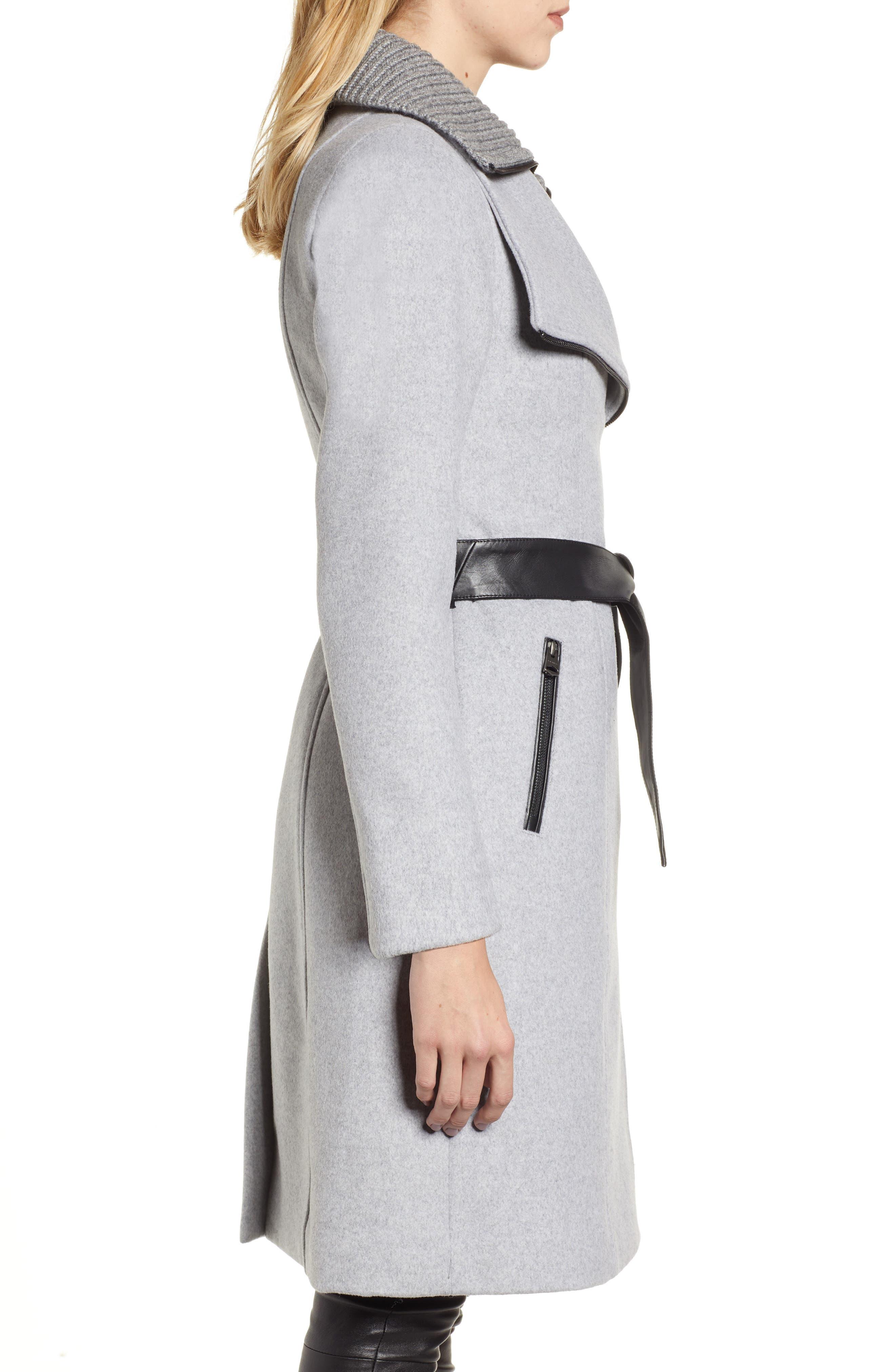 MACKAGE, Nori Belted Wool Blend Coat, Alternate thumbnail 4, color, LIGHT GREY