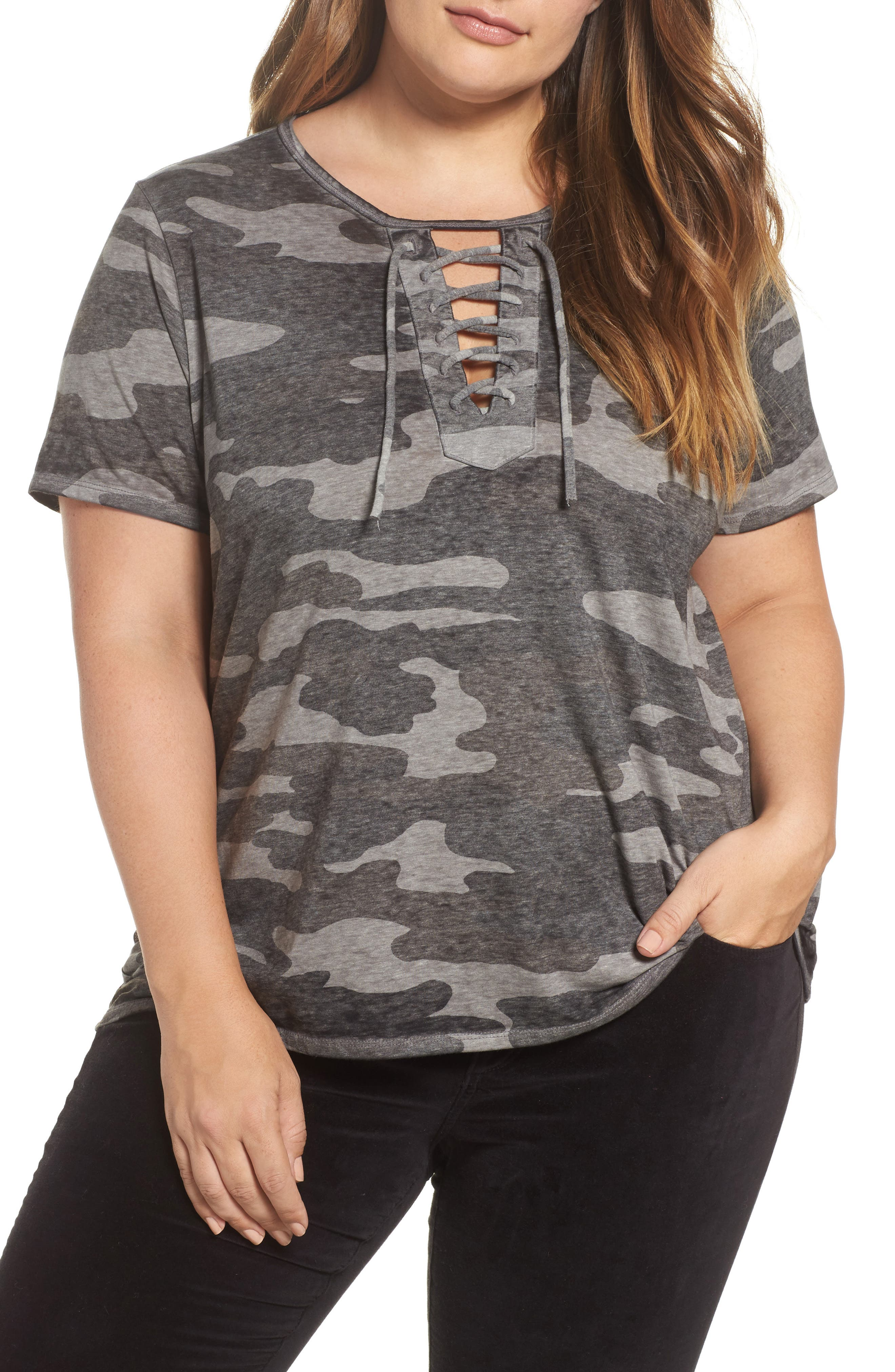 LUCKY BRAND, Lace-Up Camo Tee, Main thumbnail 1, color, GREY MULTI
