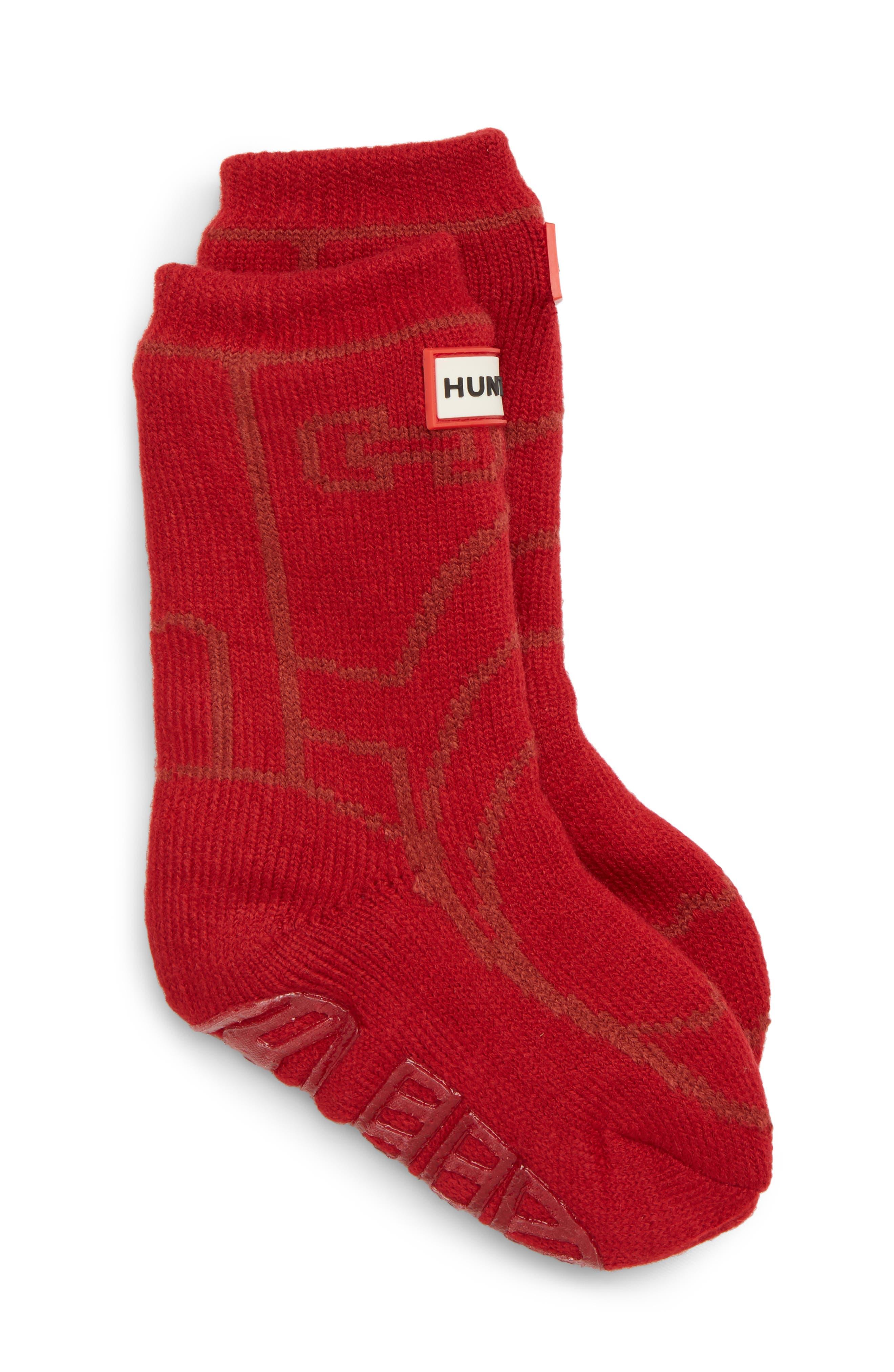 Toddler Hunter Original Boot Slipper Socks Size Large  Red