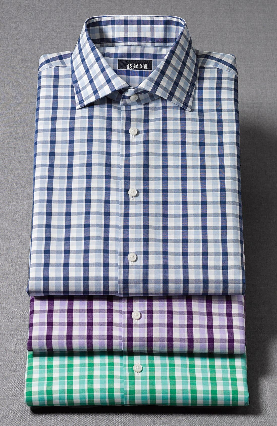 1901, Trim Fit Non-Iron Check Dress Shirt, Alternate thumbnail 3, color, 300