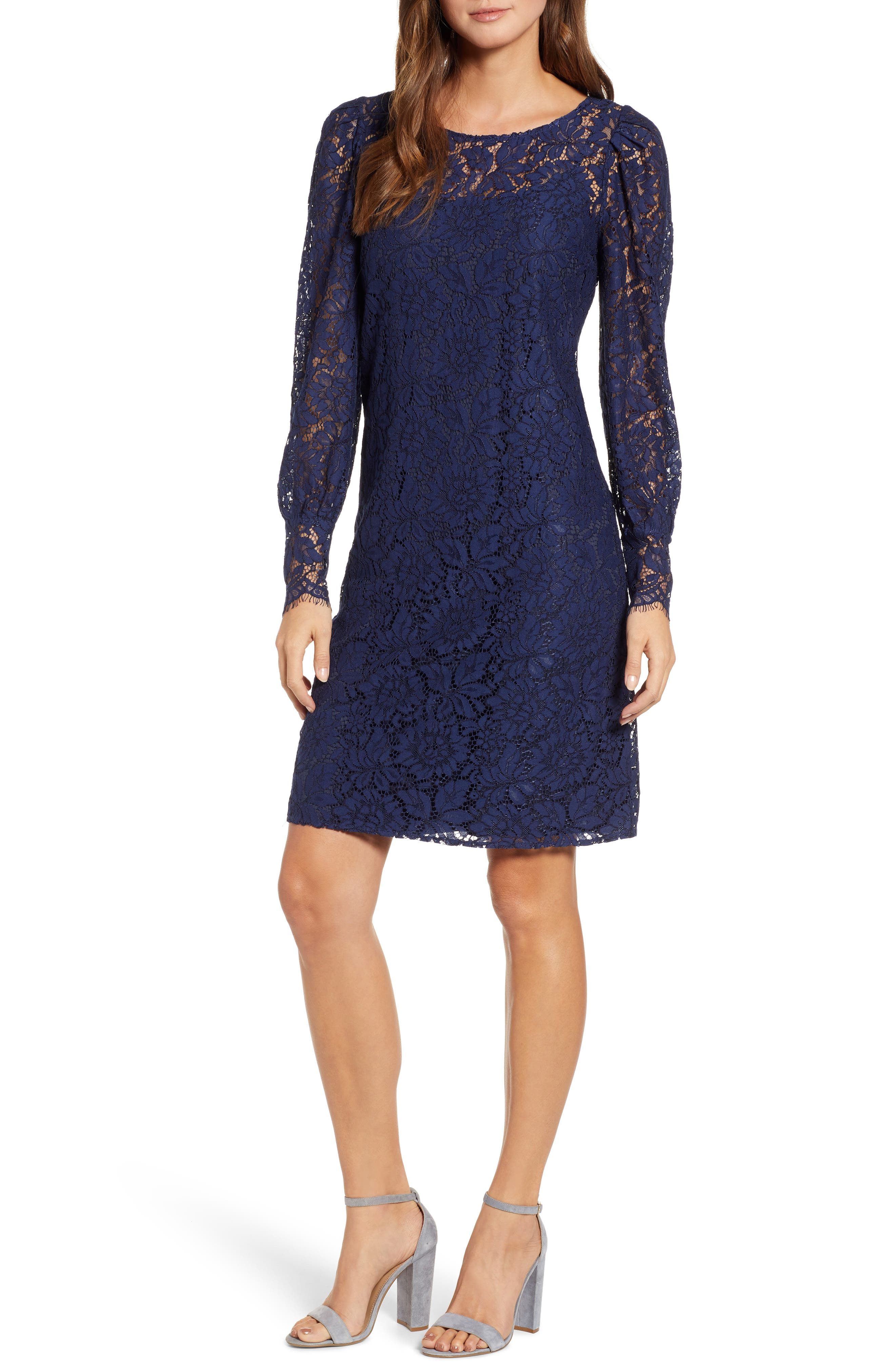 ROSEMUNDE, Tie Back Lace Dress, Main thumbnail 1, color, NAVY PEONY