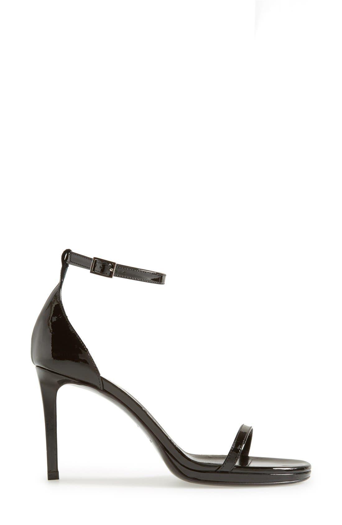 SAINT LAURENT, 'Jane' Ankle Strap Sandal, Alternate thumbnail 3, color, 001