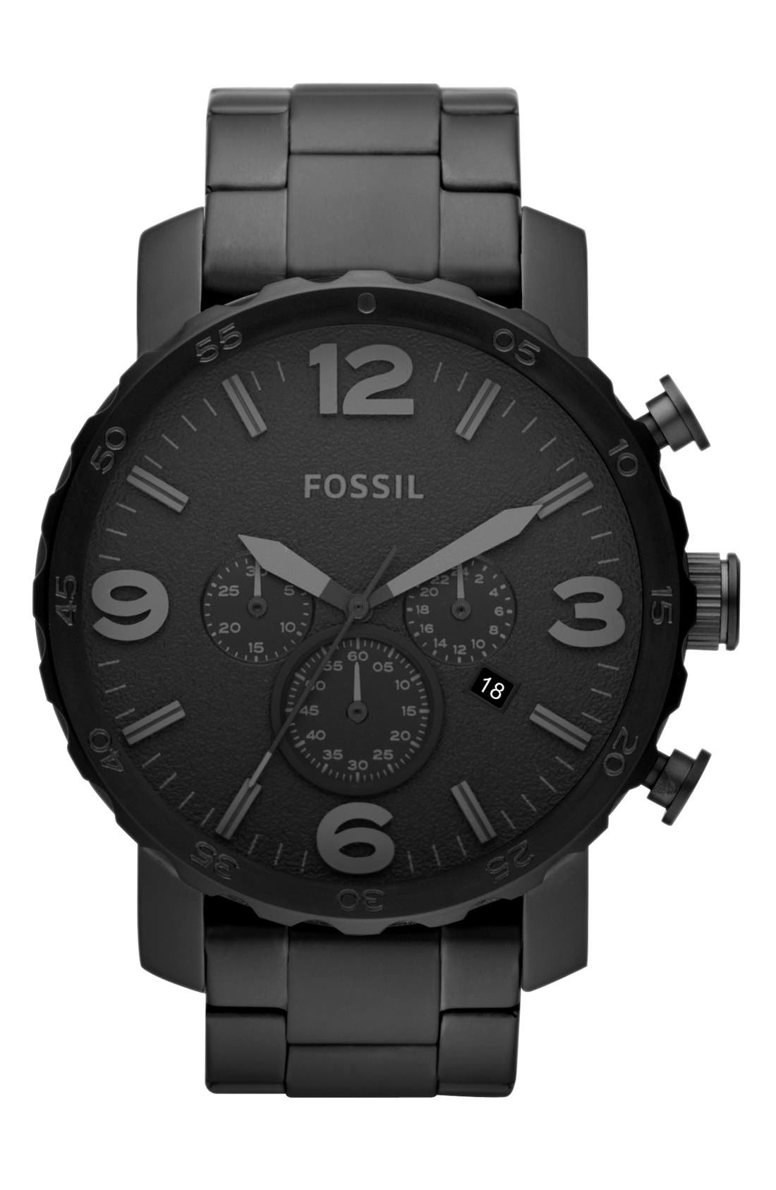 FOSSIL, 'Nate' Chronograph Bracelet Watch, 50mm, Main thumbnail 1, color, 001