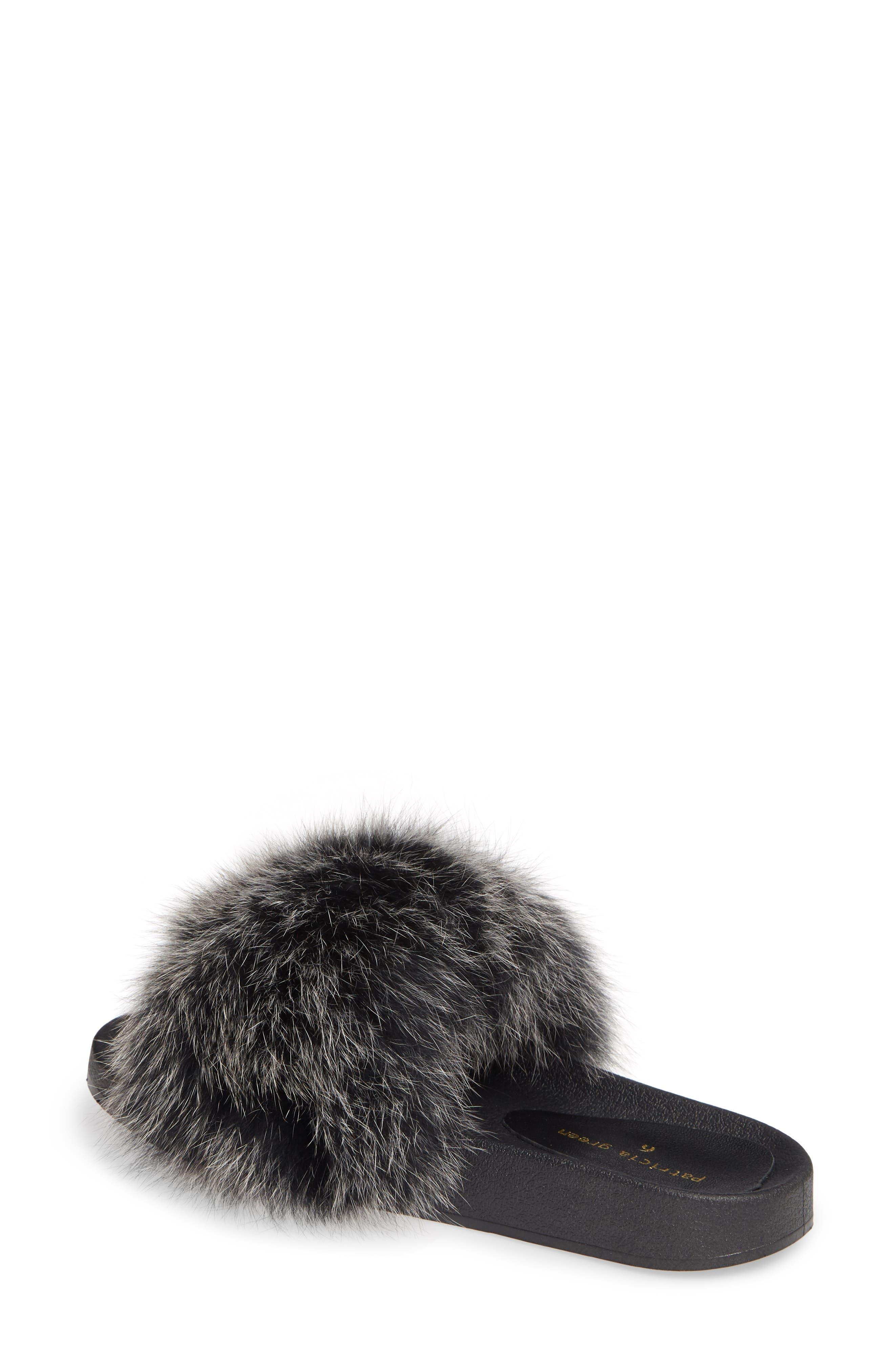 PATRICIA GREEN, Foxy Genuine Fox Fur Slipper, Alternate thumbnail 2, color, BLACK/ WHITE FUR