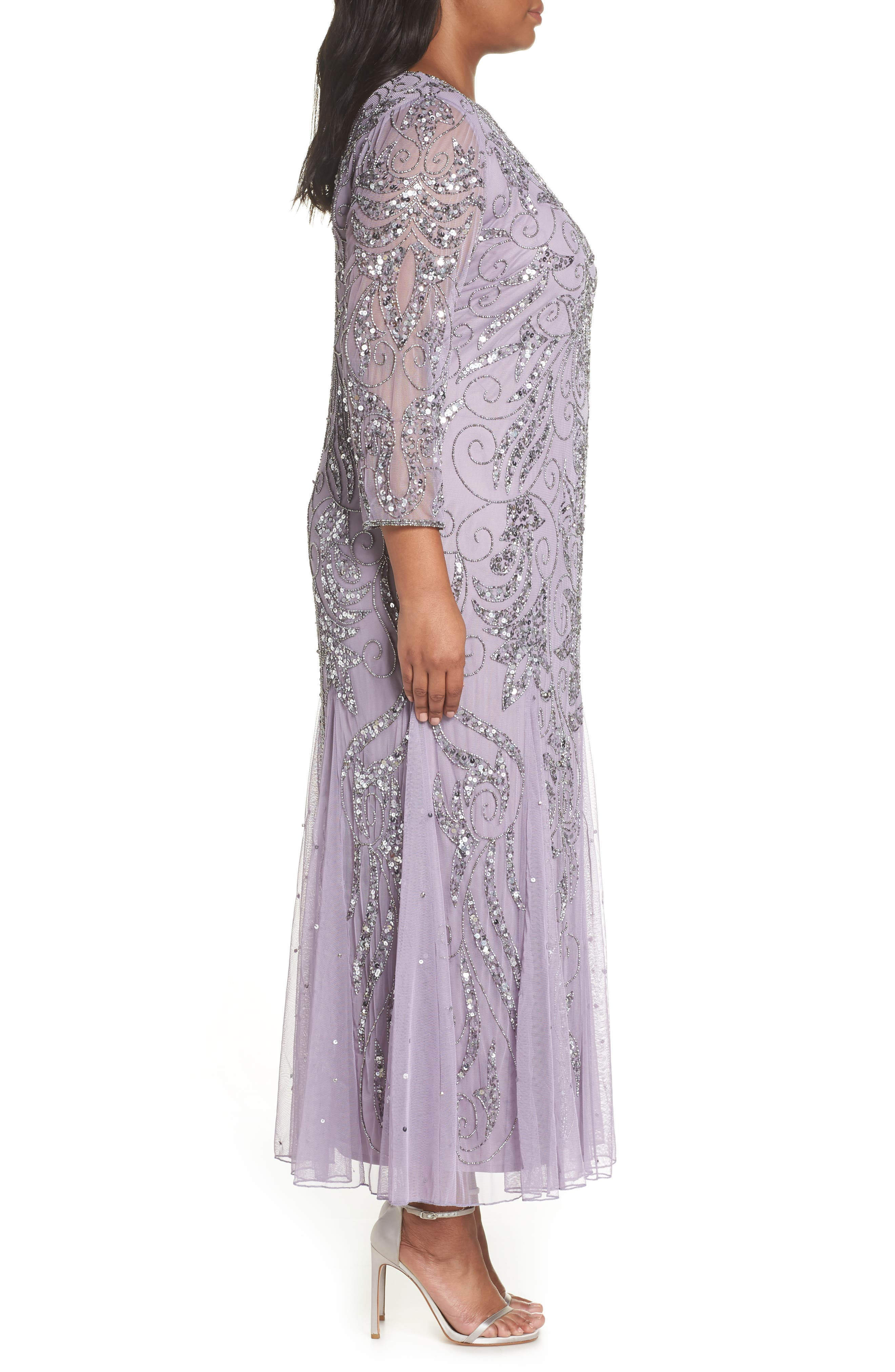 PISARRO NIGHTS, Embellished Three Quarter Sleeve Gown, Alternate thumbnail 4, color, NEW LAVENDER