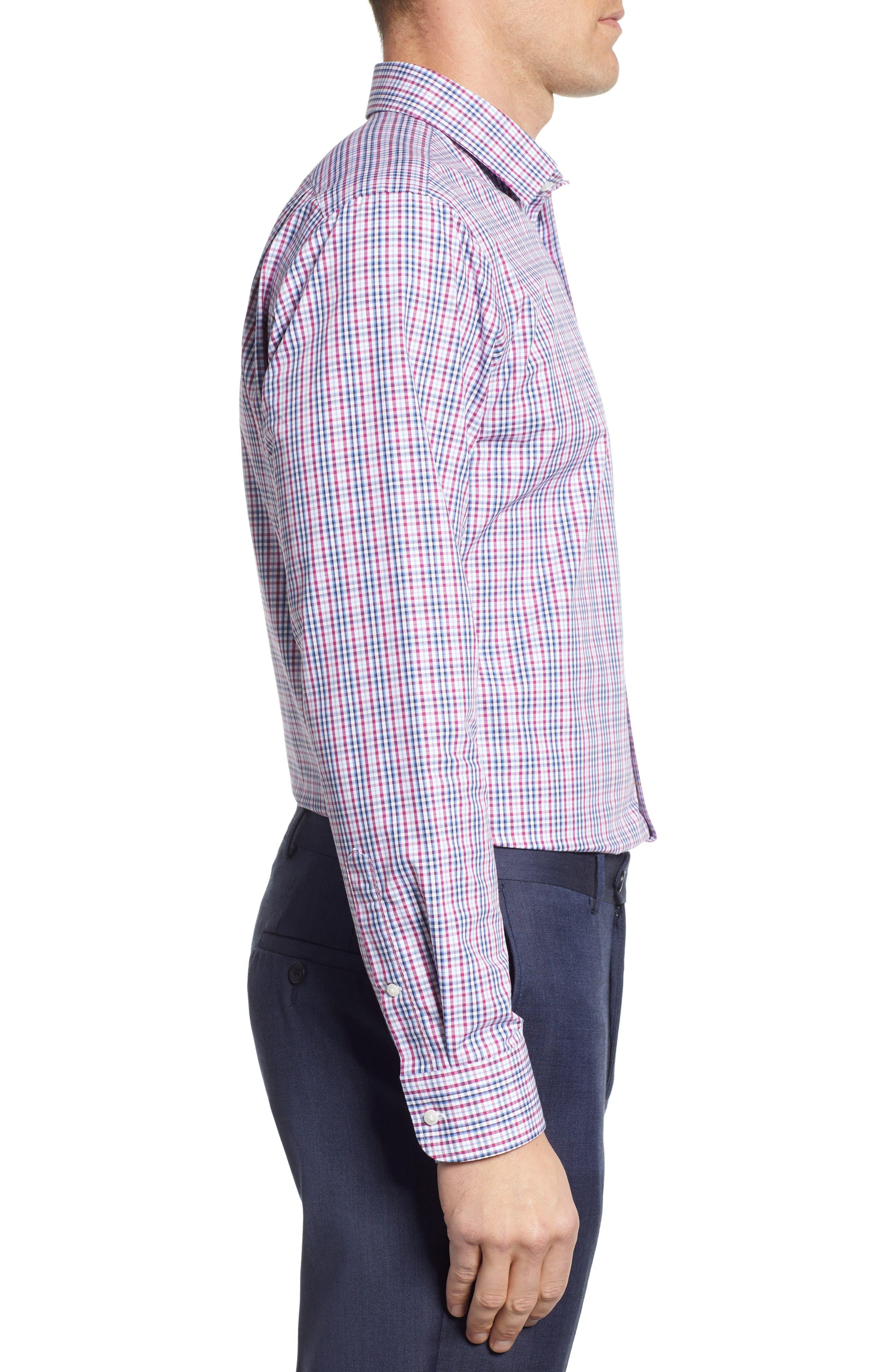 NORDSTROM MEN'S SHOP, Non-Iron Trim Fit Plaid Dress Shirt, Alternate thumbnail 4, color, PURPLE BOYSEN