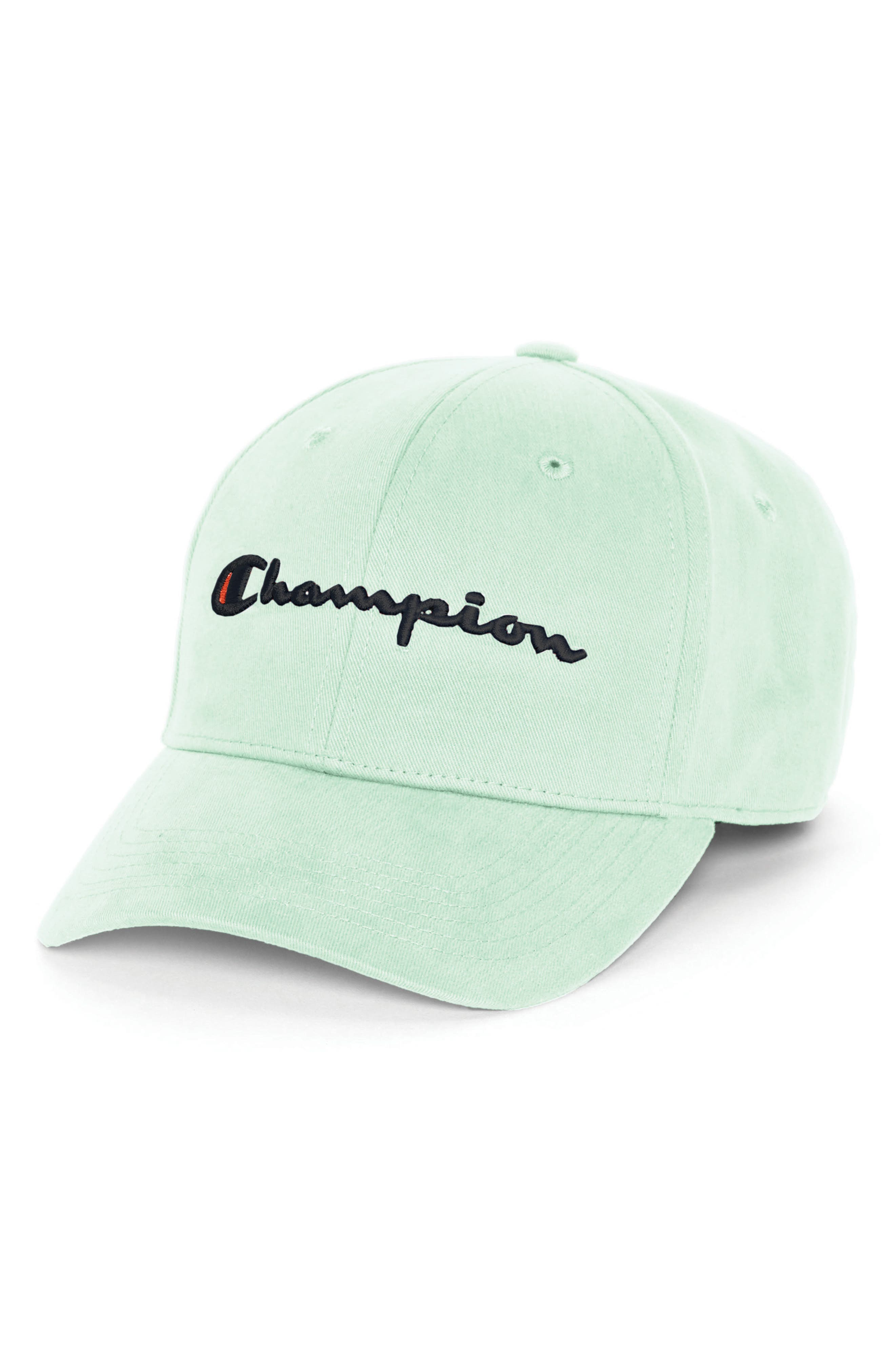 CHAMPION, Classic Script Baseball Cap, Main thumbnail 1, color, WATERFALL GREEN
