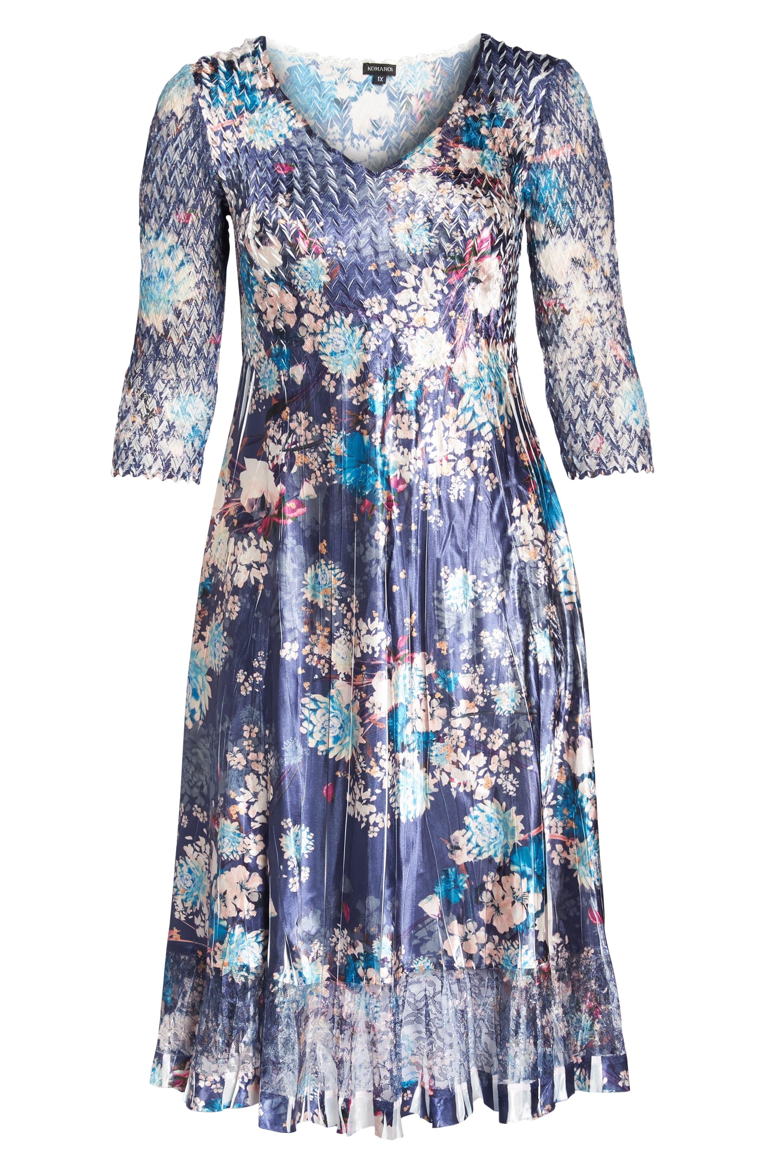 KOMAROV, Print Charmeuse & Chiffon A-Line Dress, Alternate thumbnail 7, color, CELESTIAL MEADOW