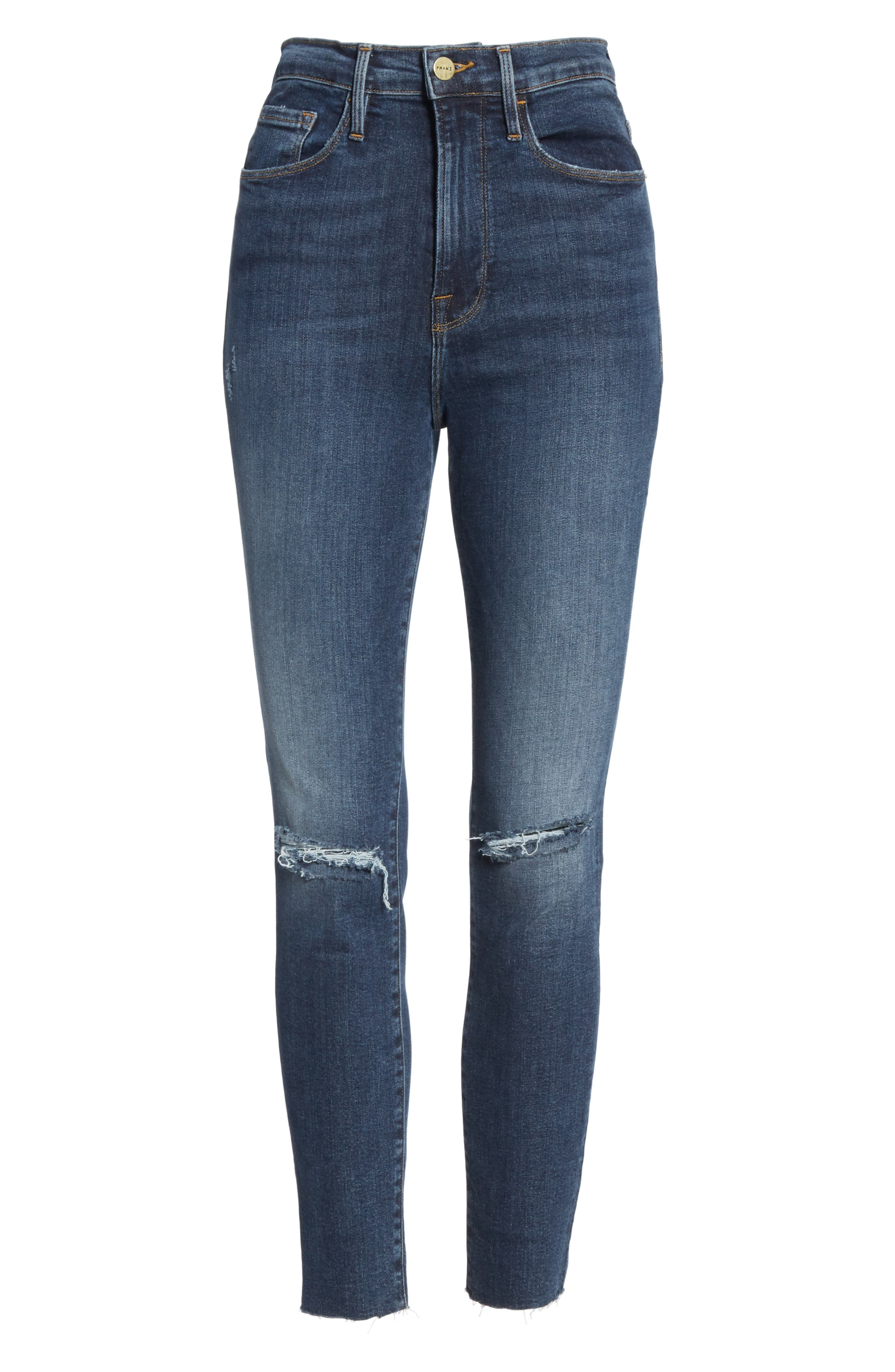 FRAME, Ali Ripped High Waist Crop Cigarette Jeans, Alternate thumbnail 7, color, BROKEDOWN PALACE