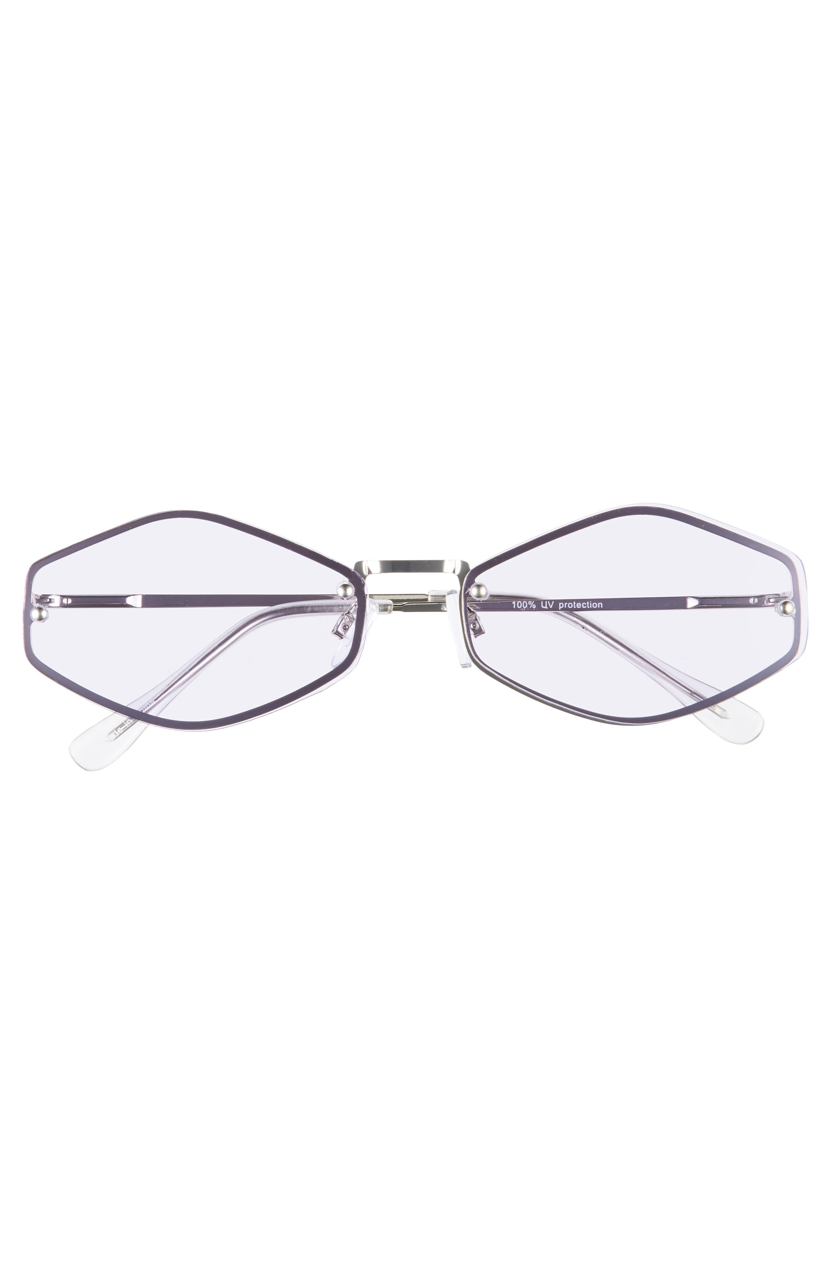 LEITH, 62mm Rimless Geometric Sunglasses, Alternate thumbnail 3, color, SILVER/ PURPLE