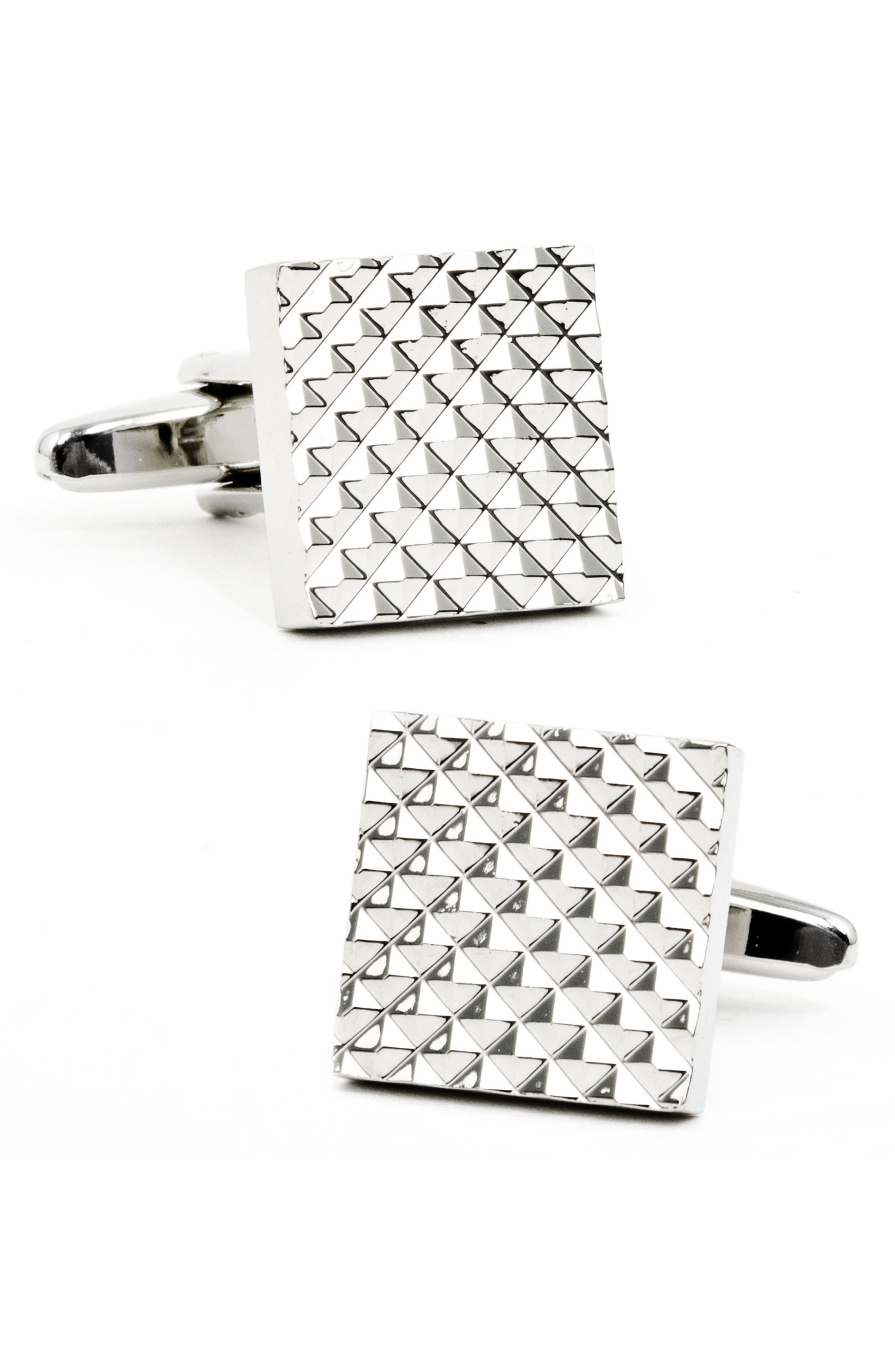 CUFFLINKS, INC., Apex Square Cuff Links, Main thumbnail 1, color, SILVER