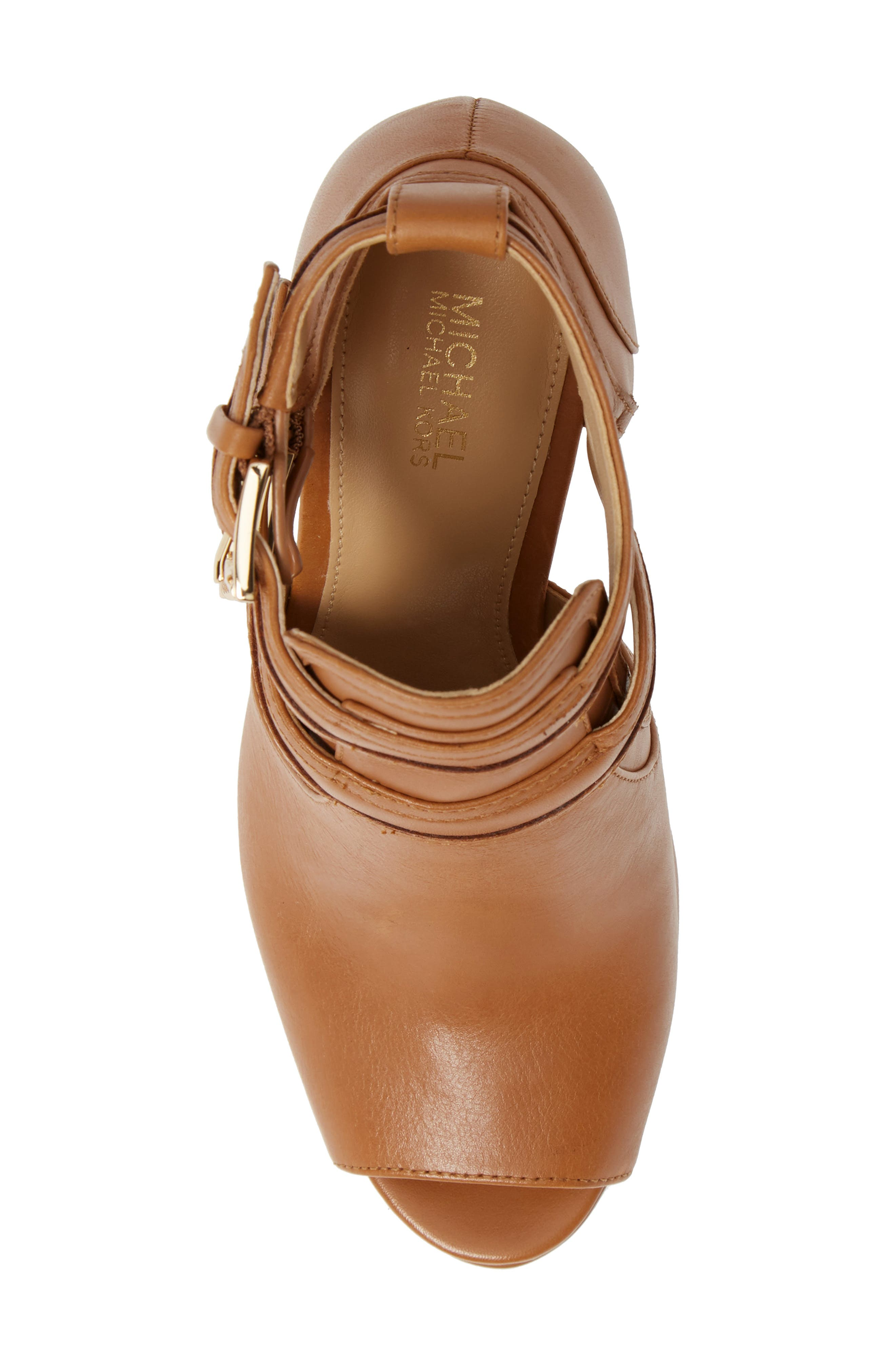 MICHAEL MICHAEL KORS, Blaze Peep Toe Buckle Bootie, Alternate thumbnail 5, color, ACORN LEATHER