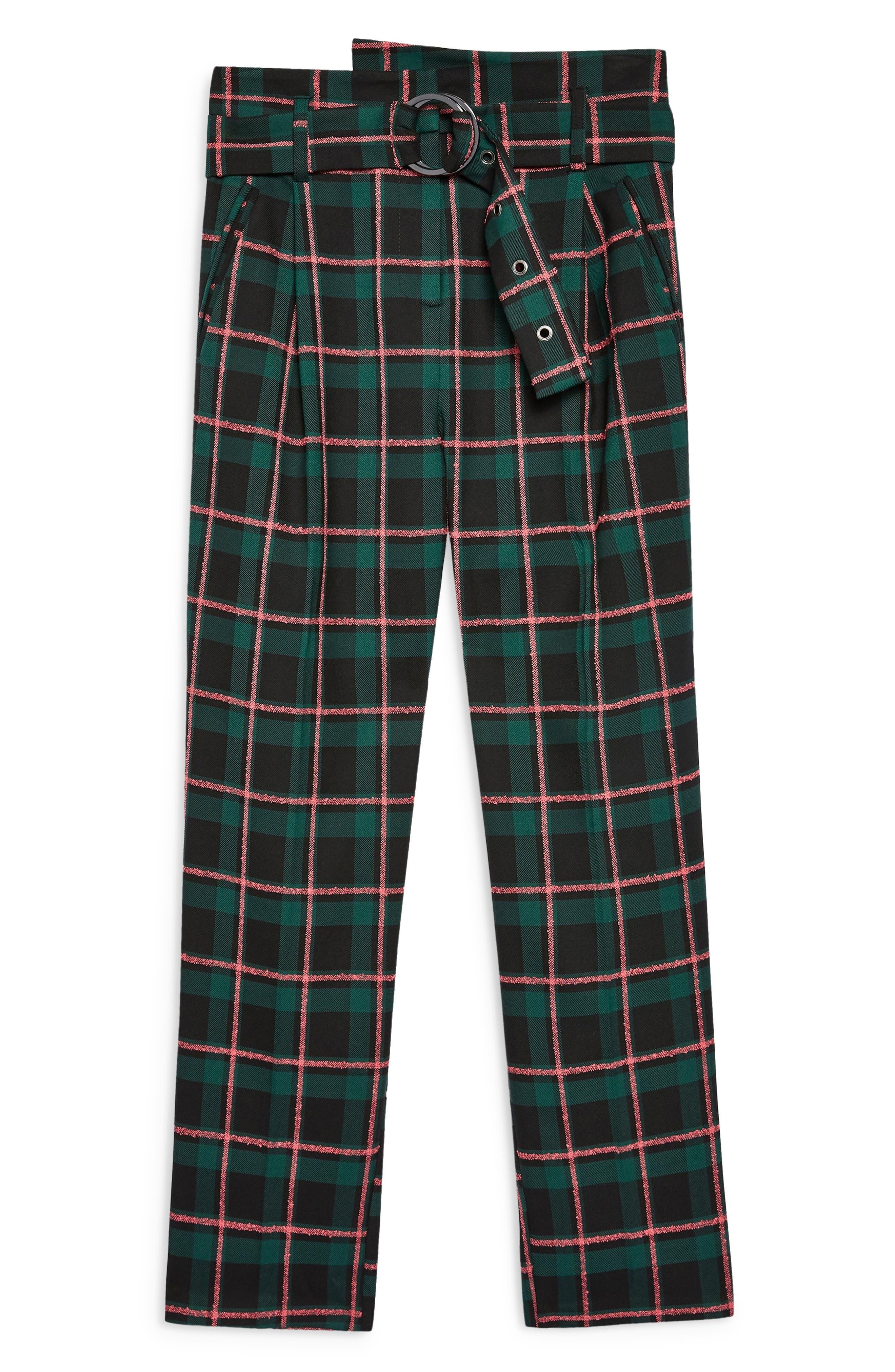 TOPSHOP, Punk Check Trousers, Alternate thumbnail 5, color, 340