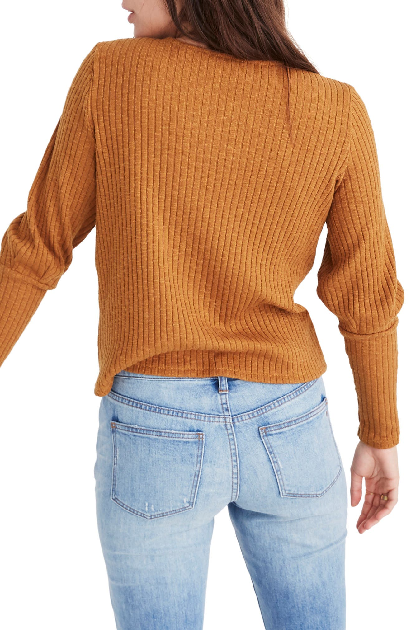 MADEWELL, Ribbed Bubble Sleeve Top, Alternate thumbnail 2, color, 200