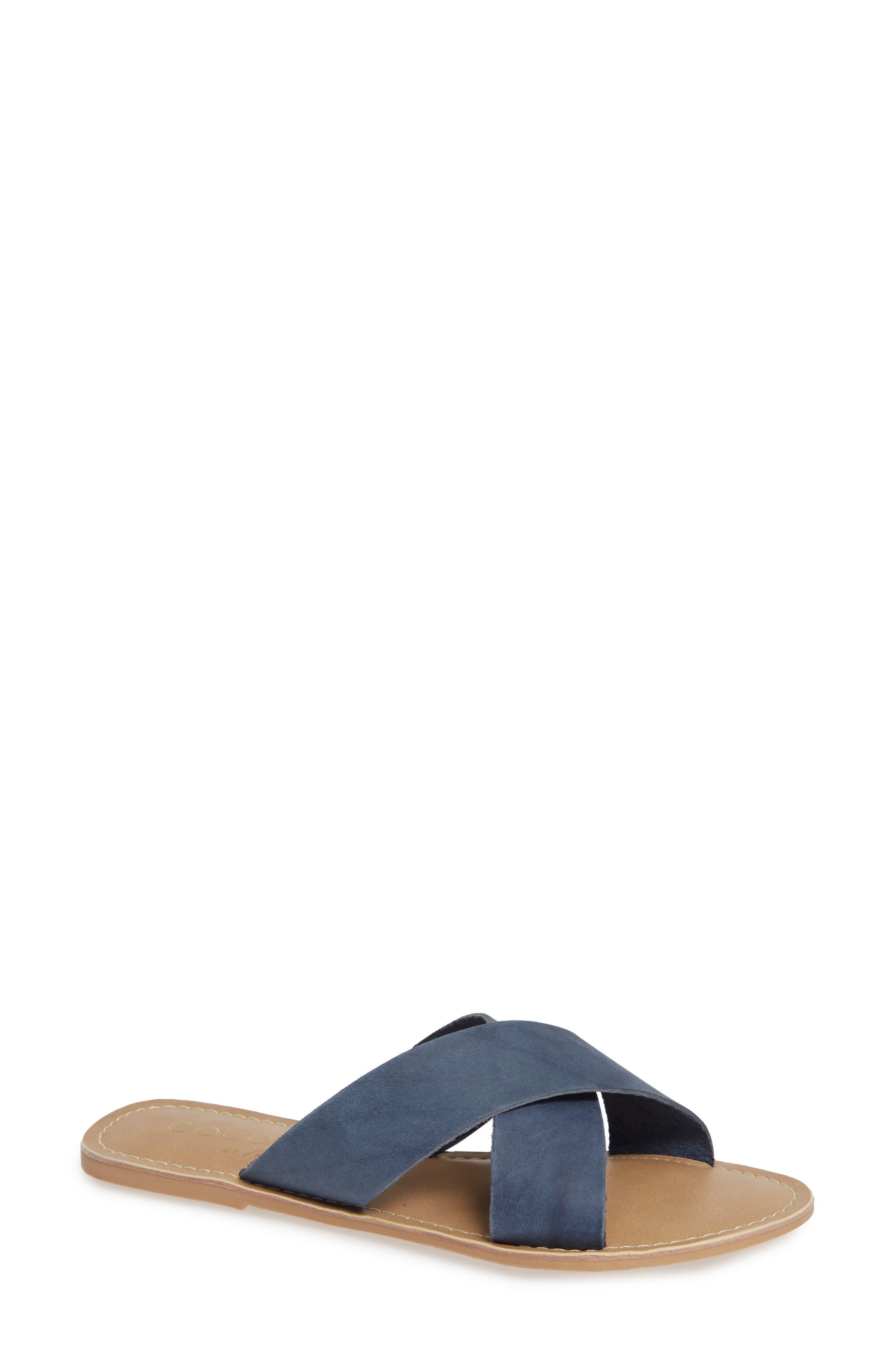 COCONUTS BY MATISSE Pebble Slide Sandal, Main, color, BLUE NUBUCK LEATHER