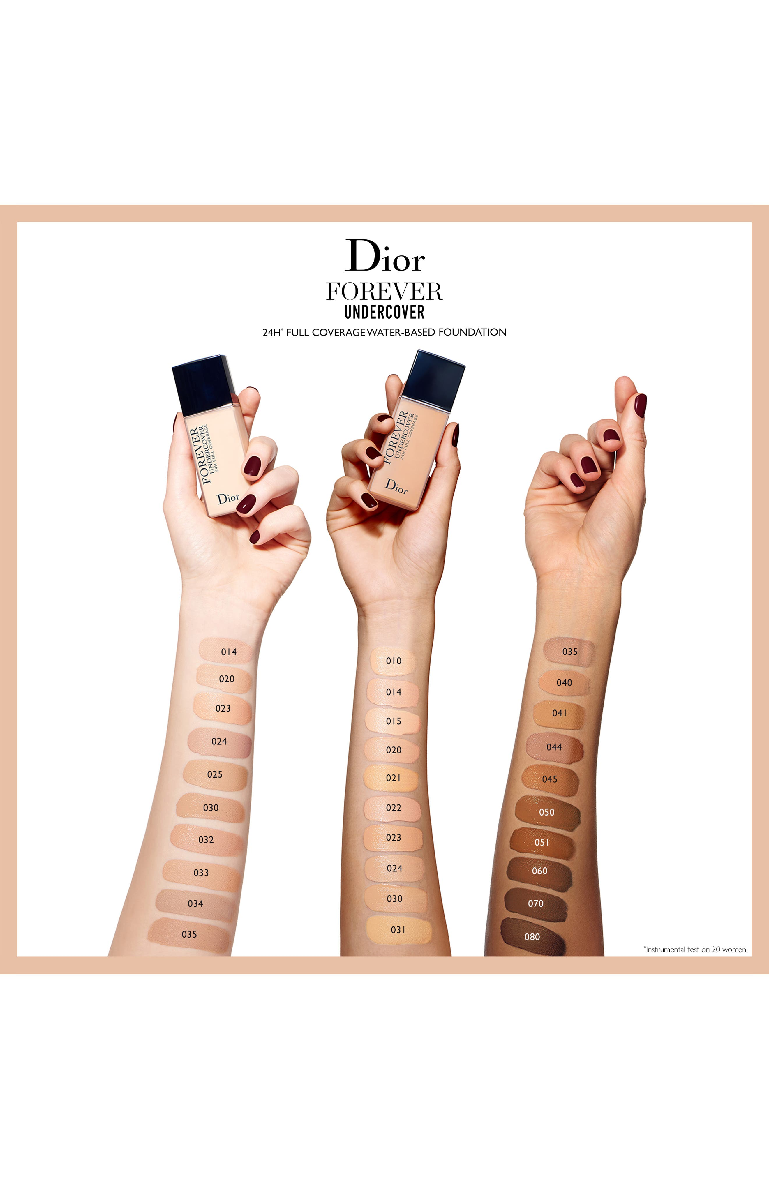 DIOR, Diorskin Forever Undercover 24-Hour Full Coverage Water-Based Foundation, Alternate thumbnail 5, color, 051 PRALINE