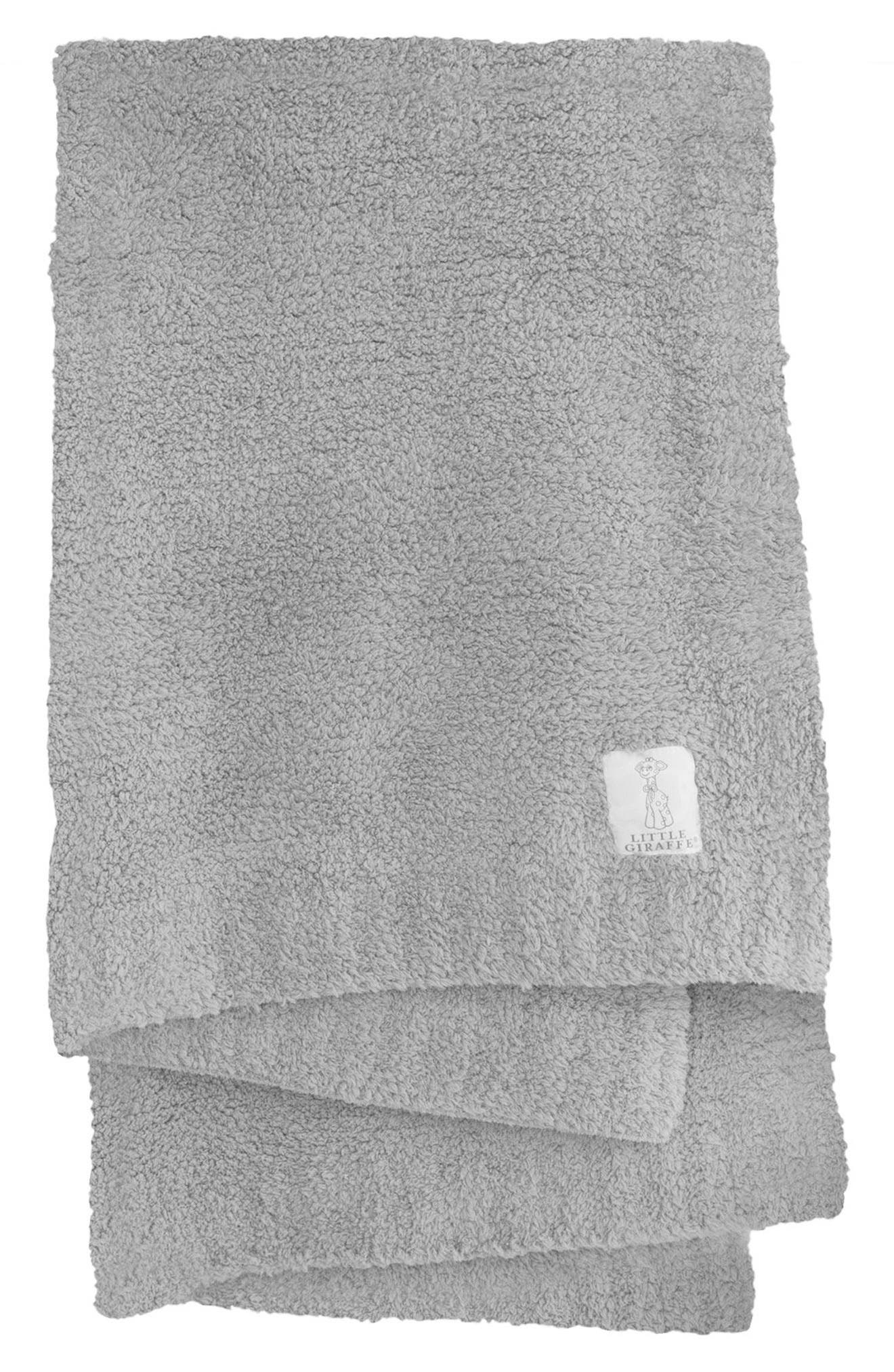 LITTLE GIRAFFE Plush Chenille Blanket, Main, color, SILVER