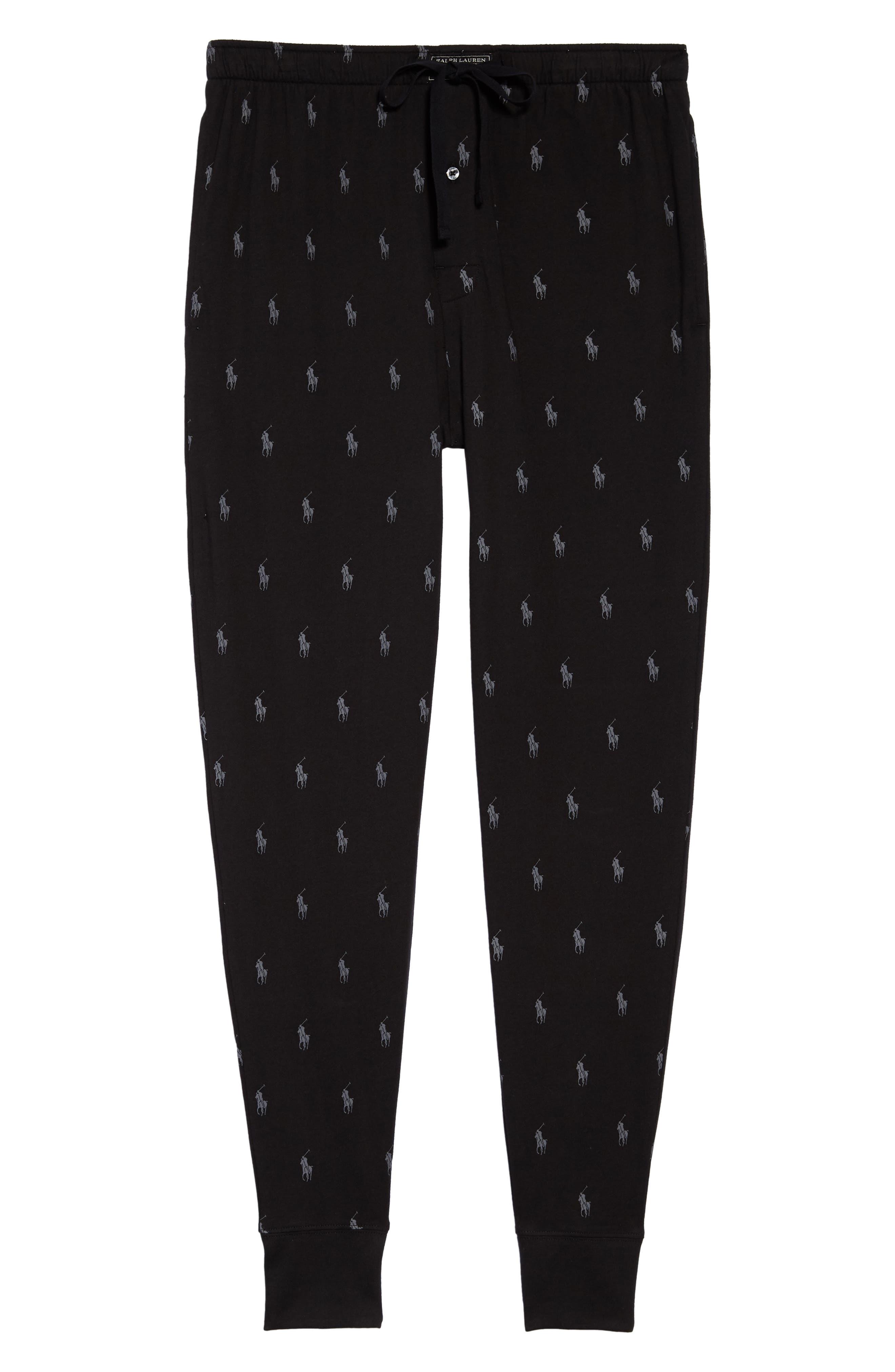 POLO RALPH LAUREN, Pony Print Pajama Pants, Alternate thumbnail 6, color, POLO BLACK