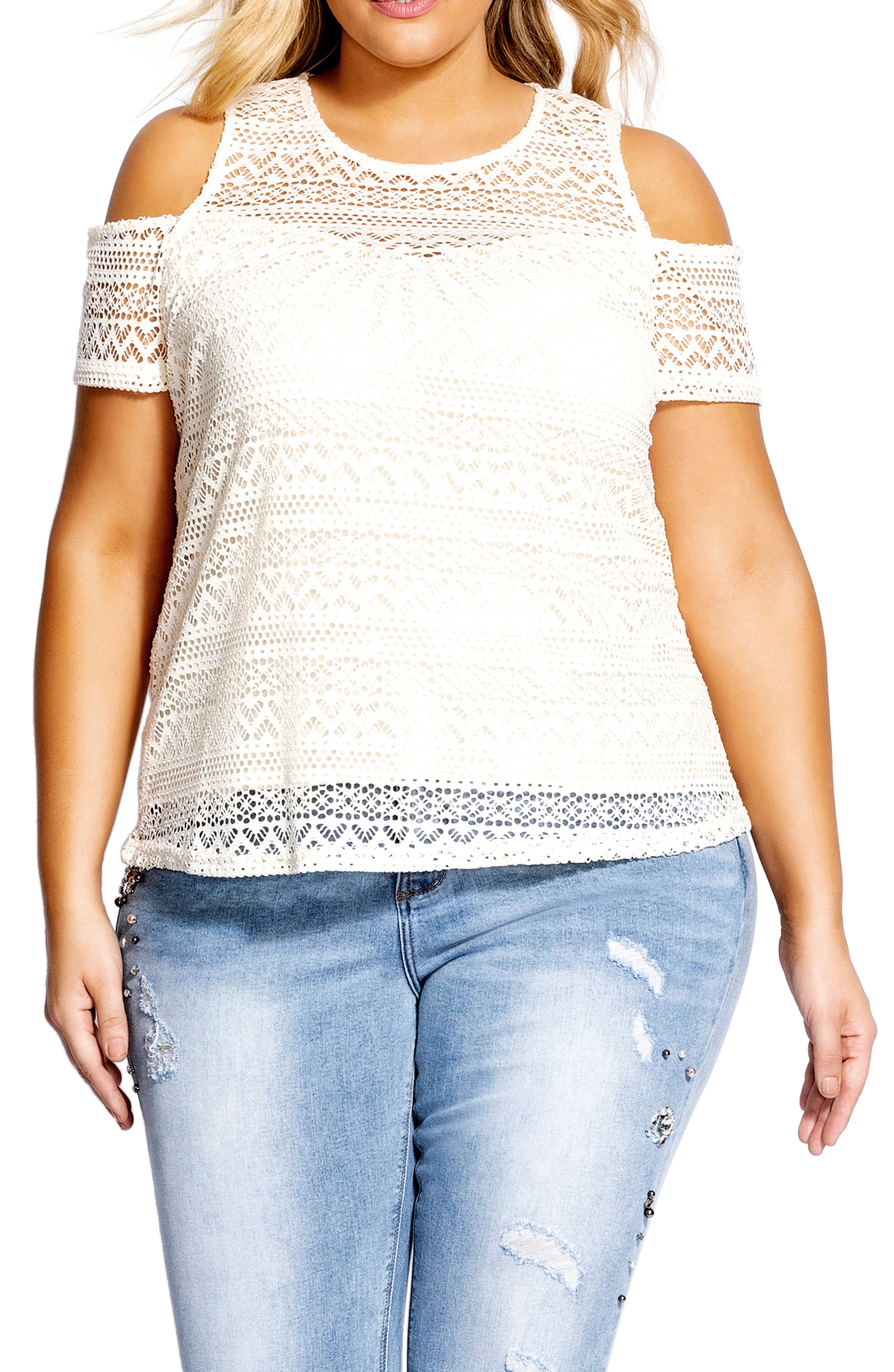 CITY CHIC, Serenity Lace Cold Shoulder Top, Main thumbnail 1, color, 111