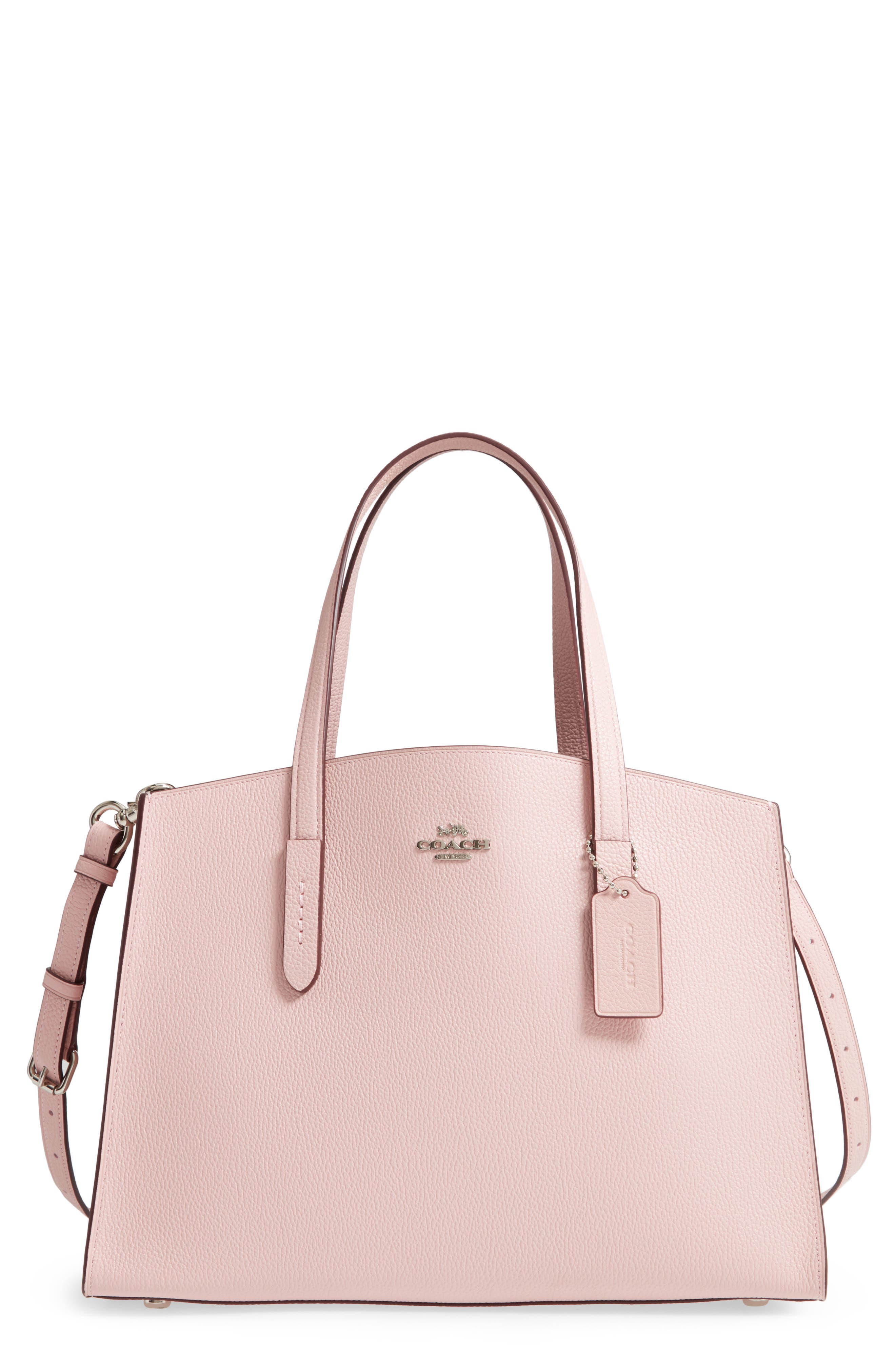 COACH, Charlie Leather Tote, Main thumbnail 1, color, BLOSSOM/ SILVER