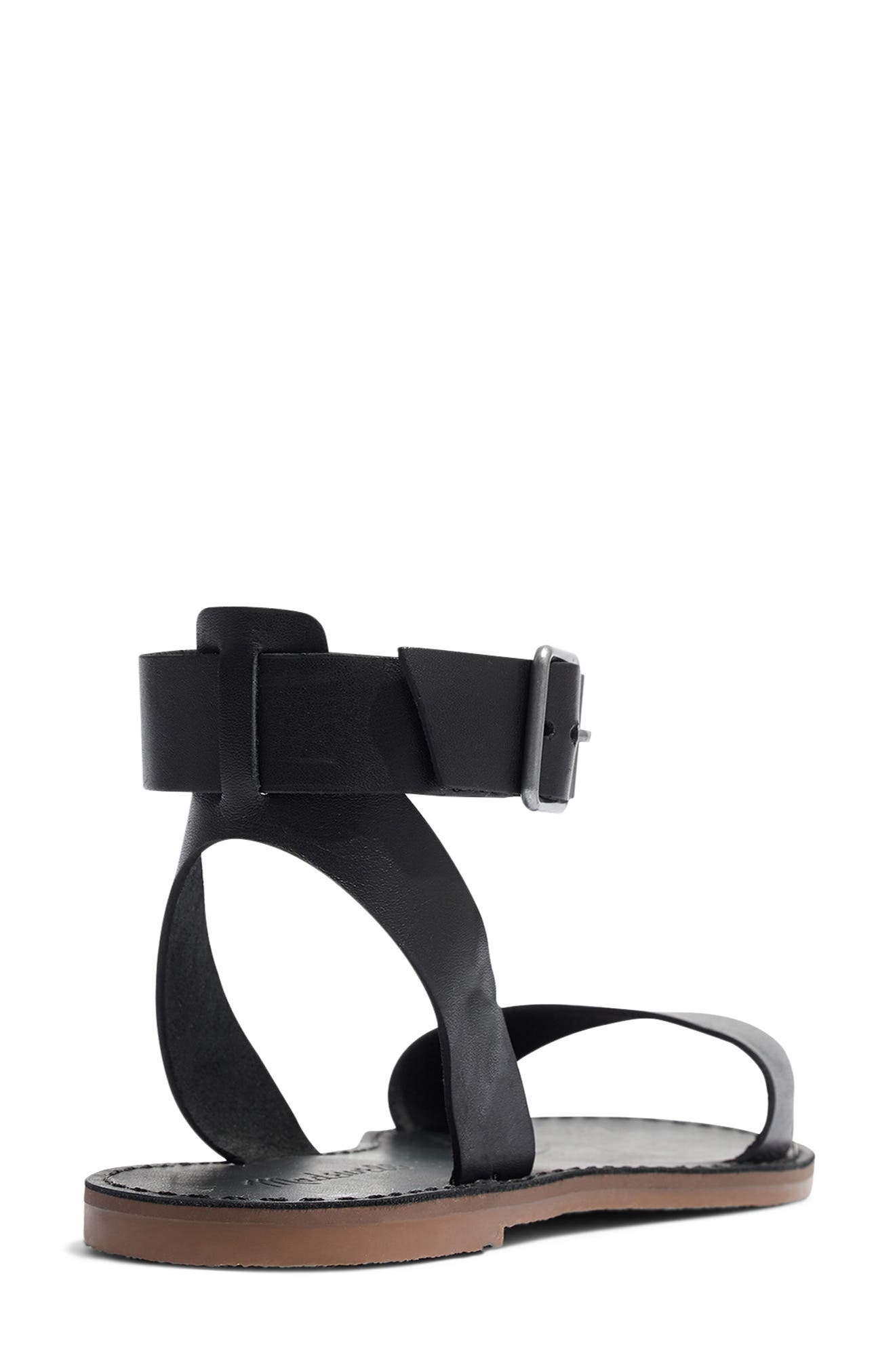 MADEWELL, The Boardwalk Ankle Strap Sandal, Alternate thumbnail 2, color, TRUE BLACK LEATHER