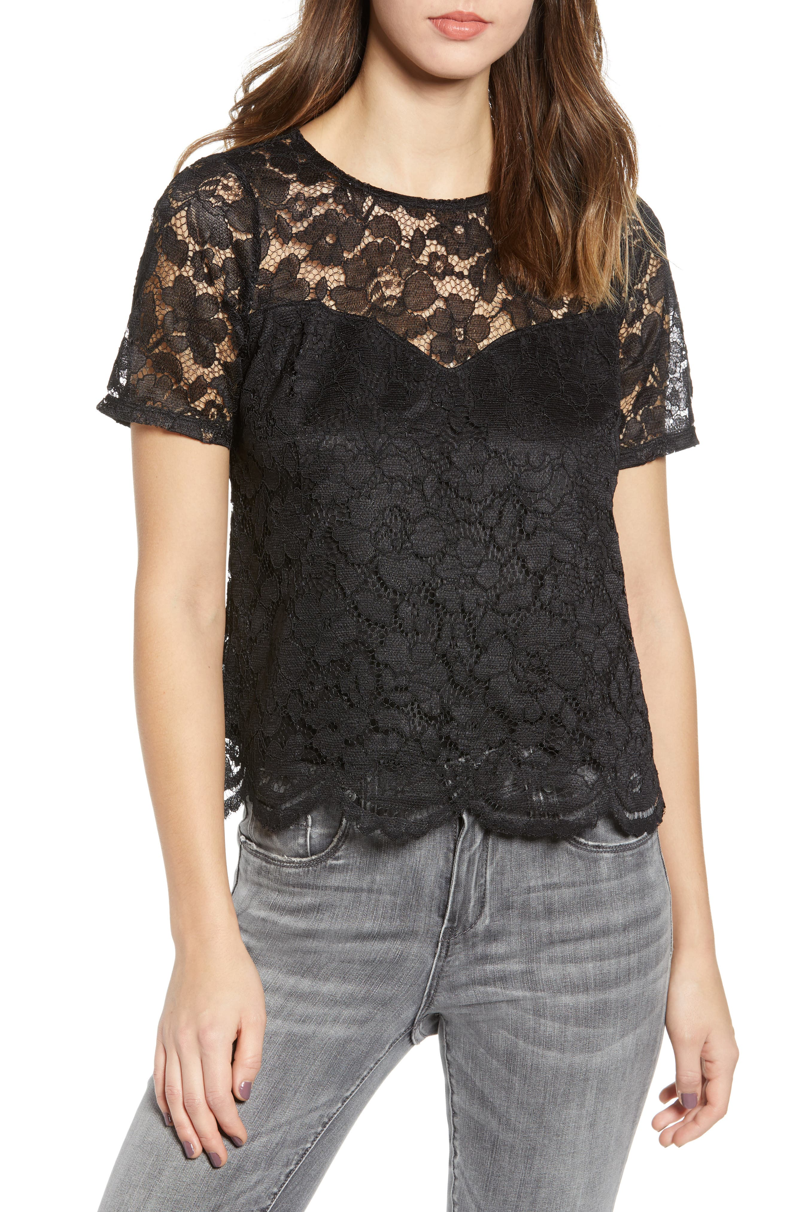 LEITH Scalloped Lace Tee, Main, color, BLACK